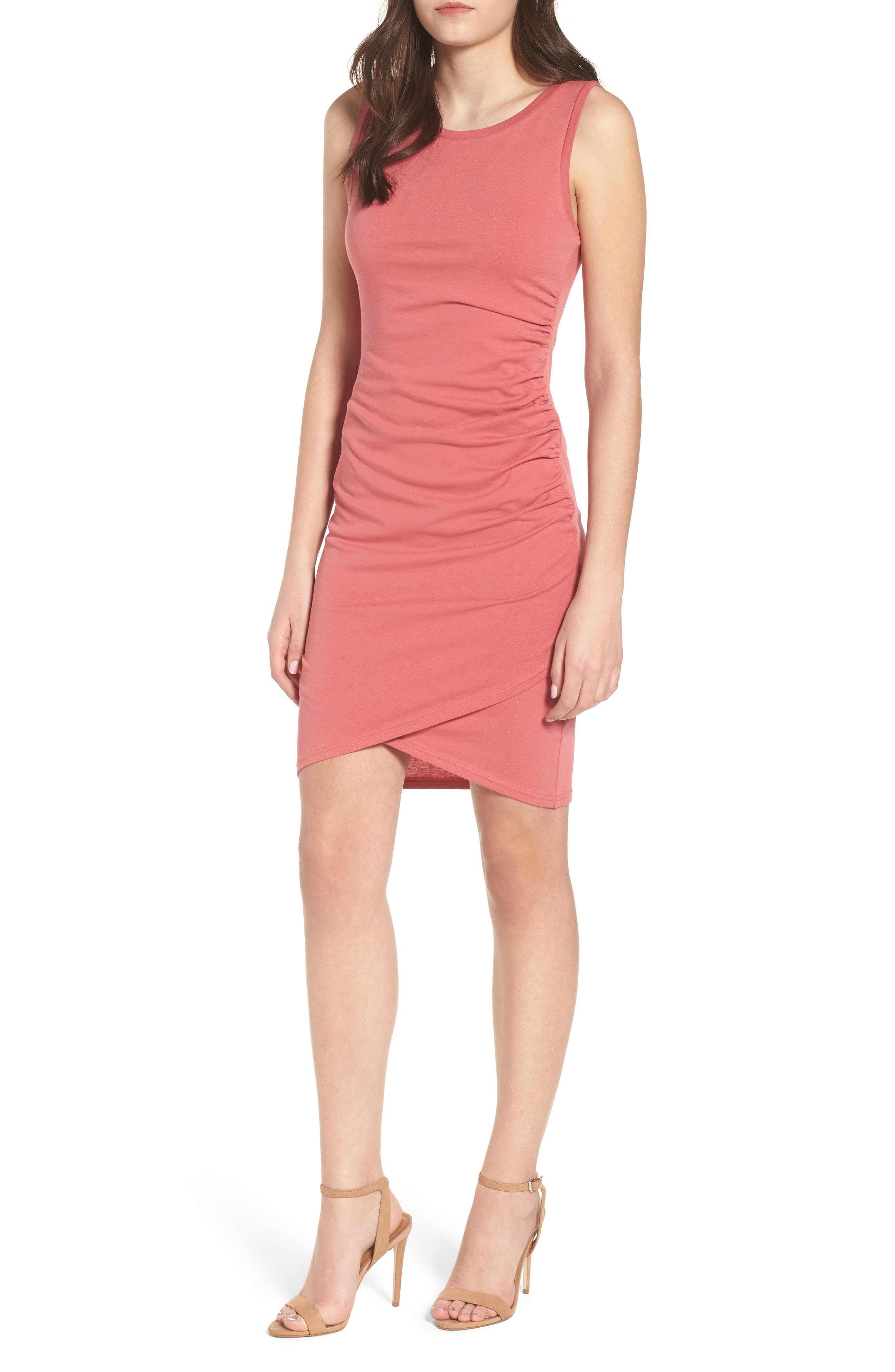 Ruched Body-Con Tank Dress,                         Main,                         color, Red Baroque