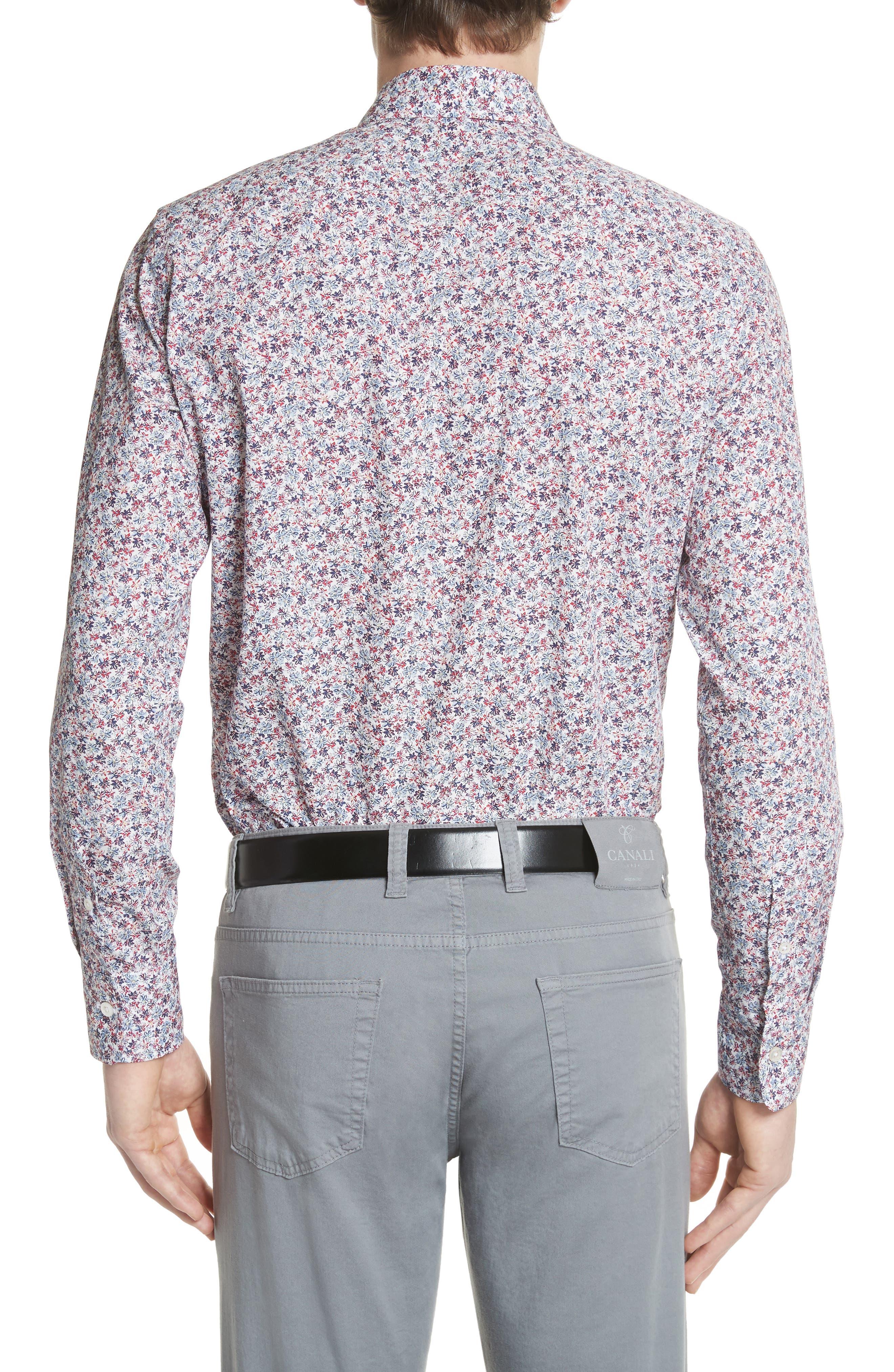Regular Fit Floral Sport Shirt,                             Alternate thumbnail 2, color,                             White/ Red/ Navy