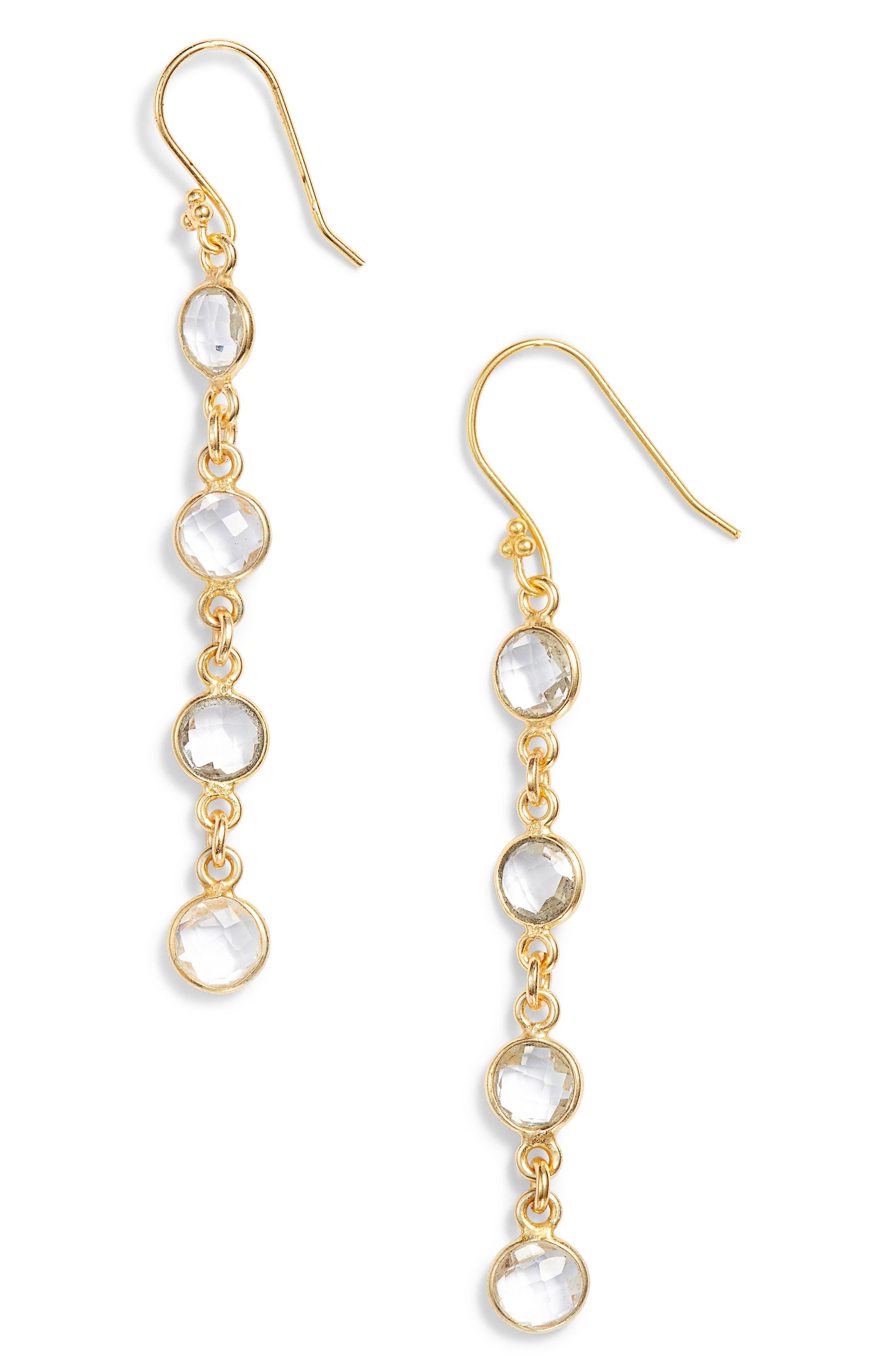 Stone Drop Earrings,                         Main,                         color, Crystal Quartz