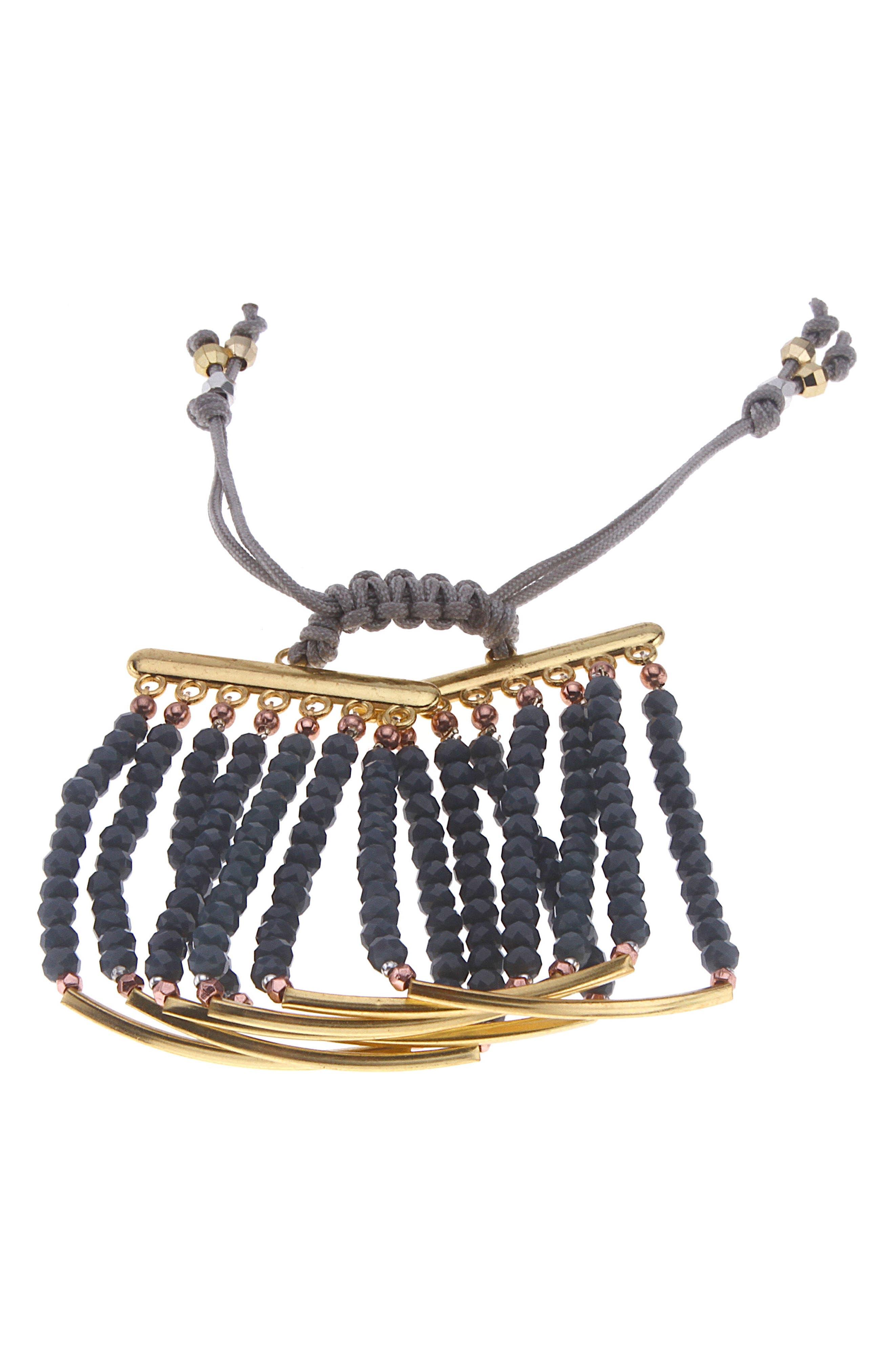 Bar Charm & Beaded Bracelet,                             Main thumbnail 1, color,                             Blue