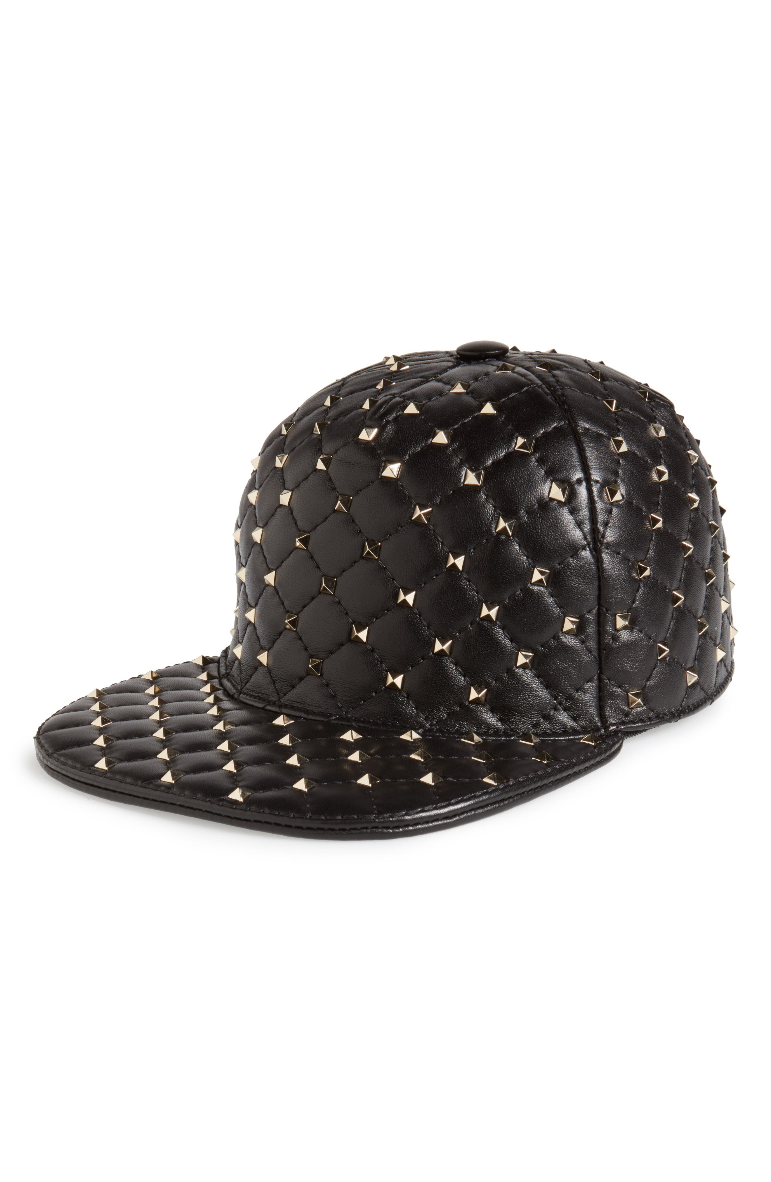 Rockstud Spike Leather Baseball Cap,                         Main,                         color, Nero