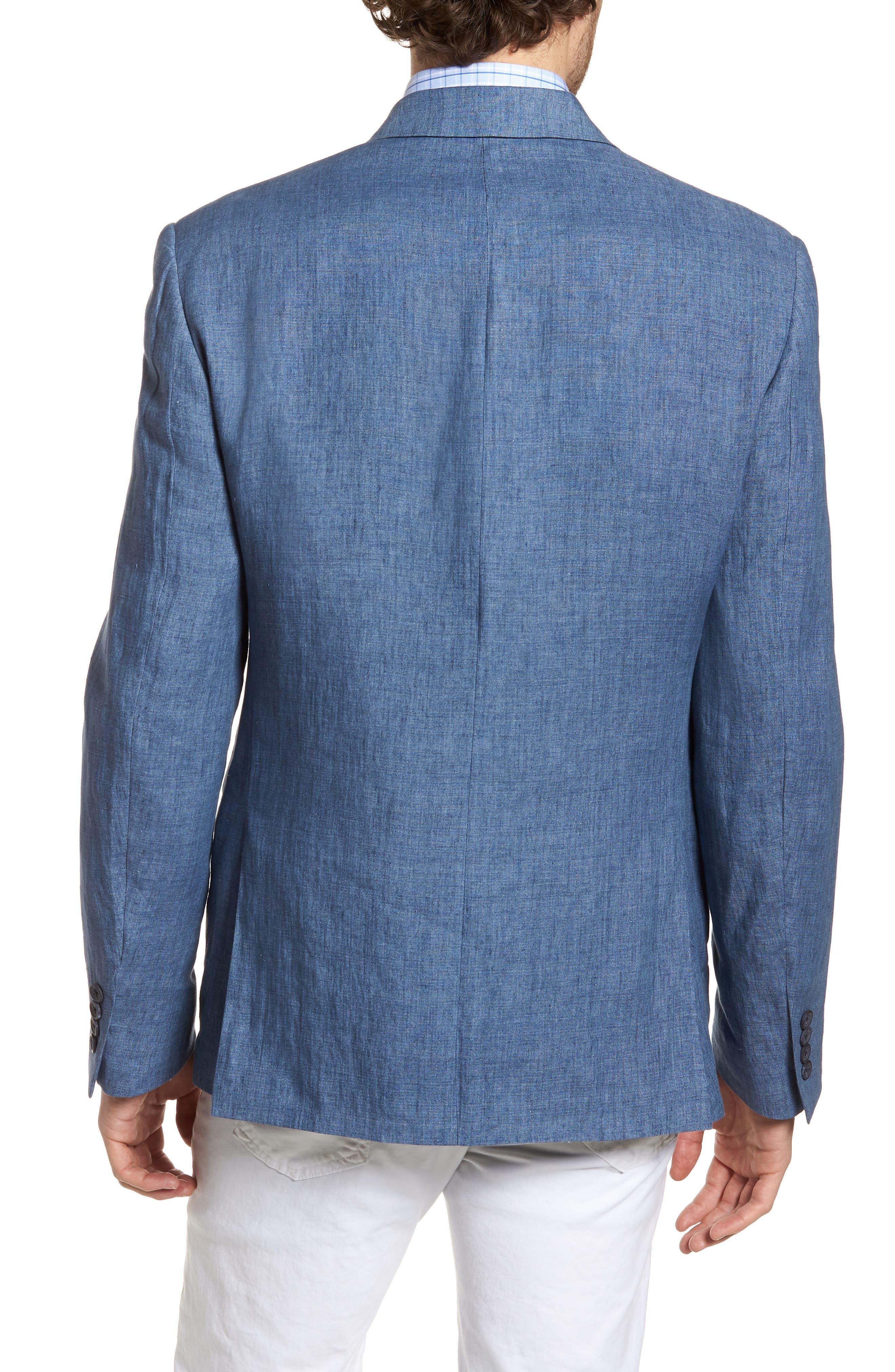 Trim Fit Linen Blazer,                             Alternate thumbnail 2, color,                             Blue Denim