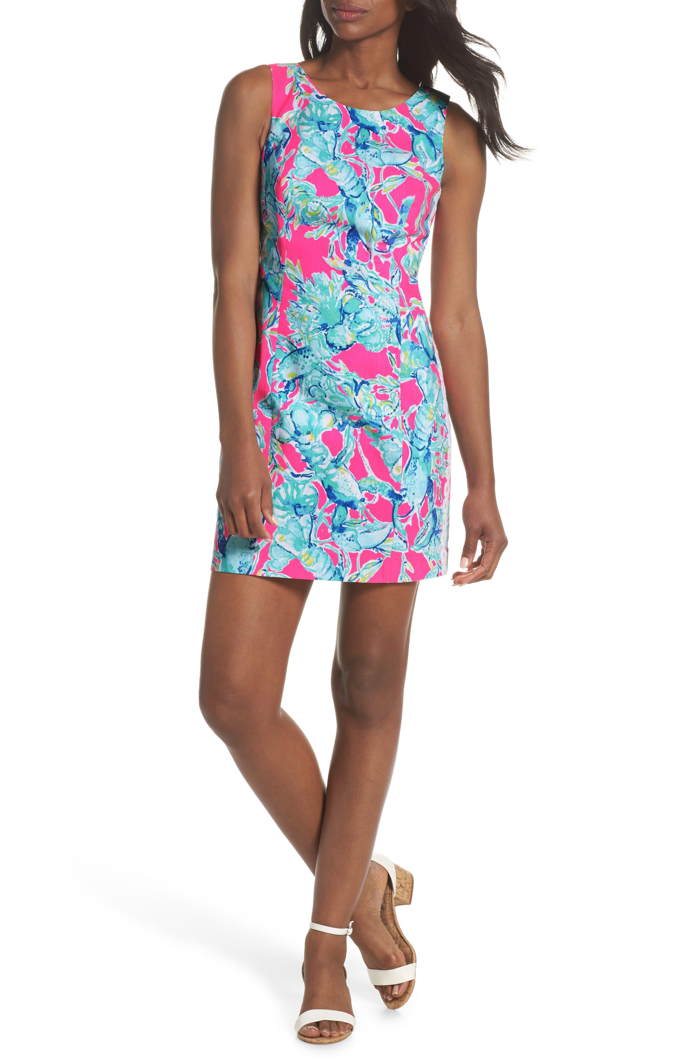 Mila Sheath Dress,                         Main,                         color, Raz Berry Lobsters In Love