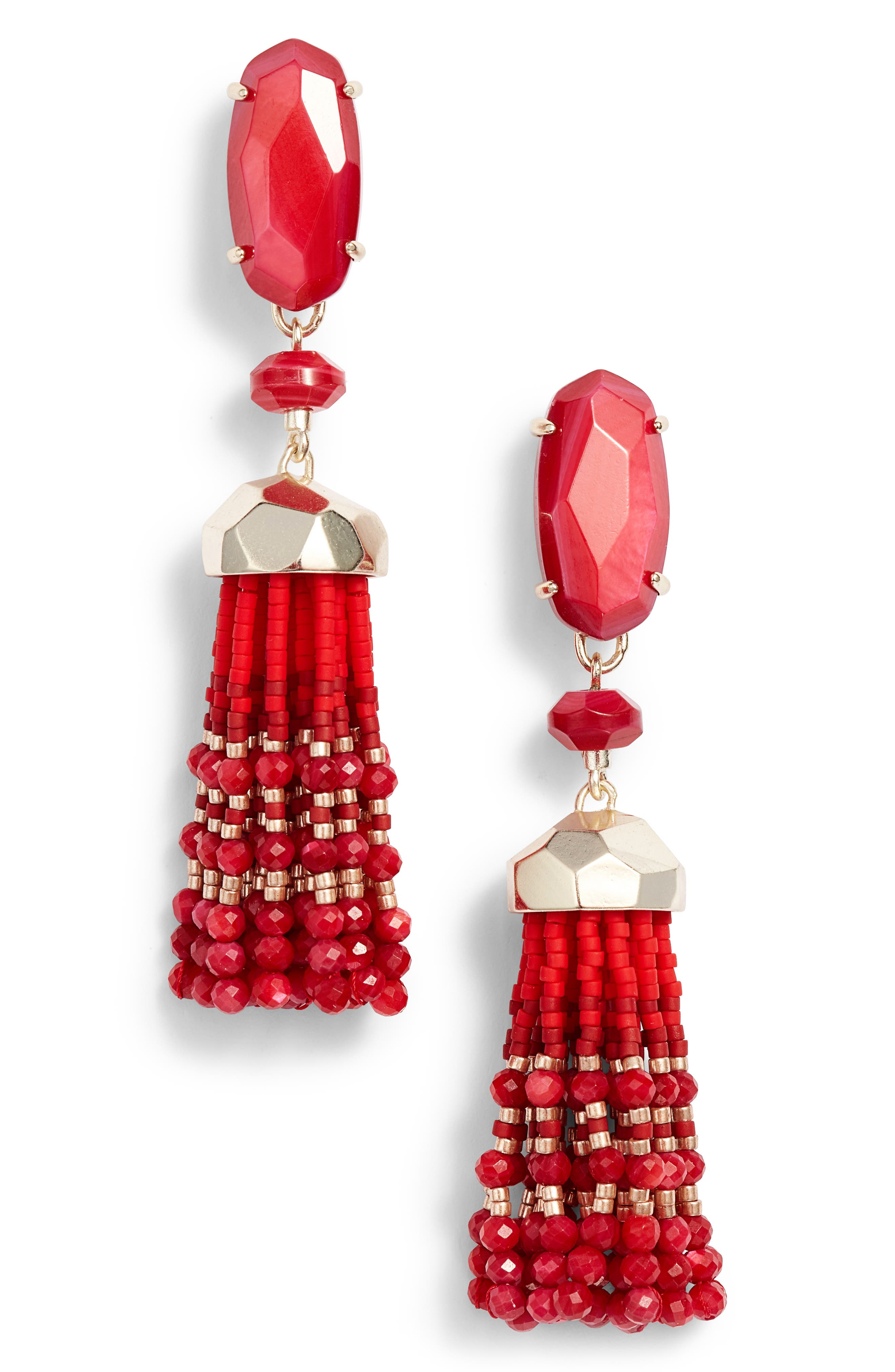 Dove Tassel Earrings,                             Main thumbnail 1, color,                             Red Mop/ Gold