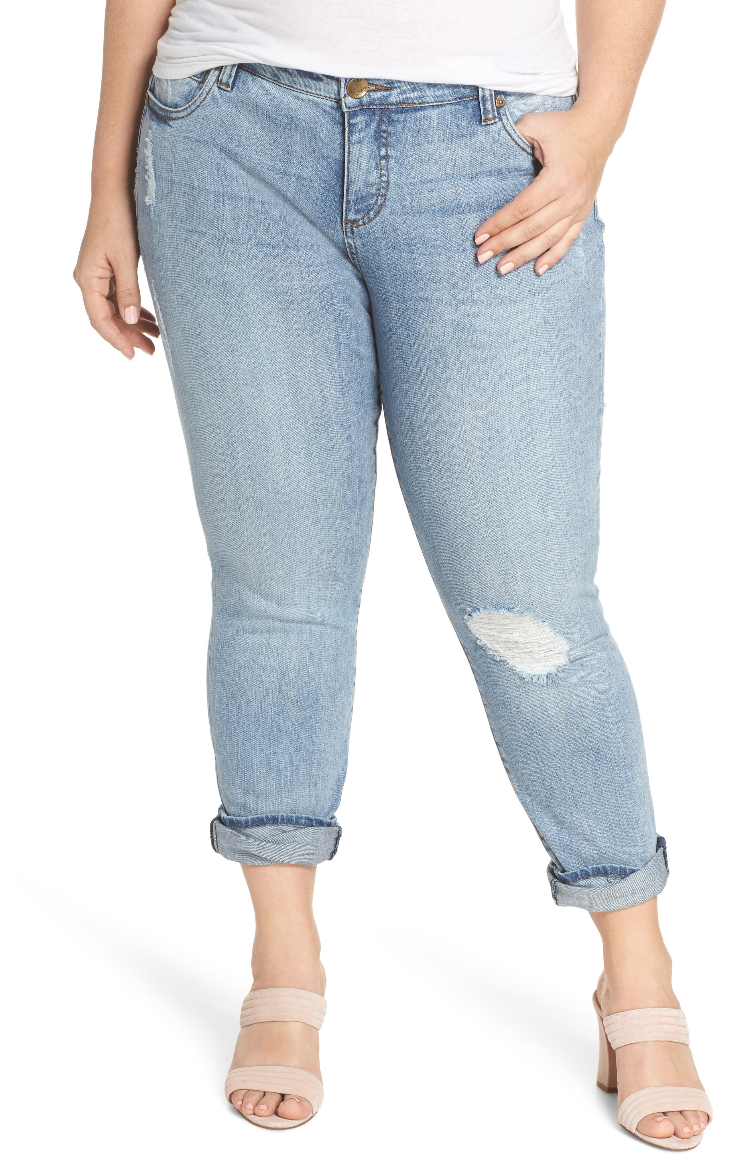 Main Image - KUT from the Kloth Catherine Distressed Boyfriend Jeans (Announce) (Plus Size)