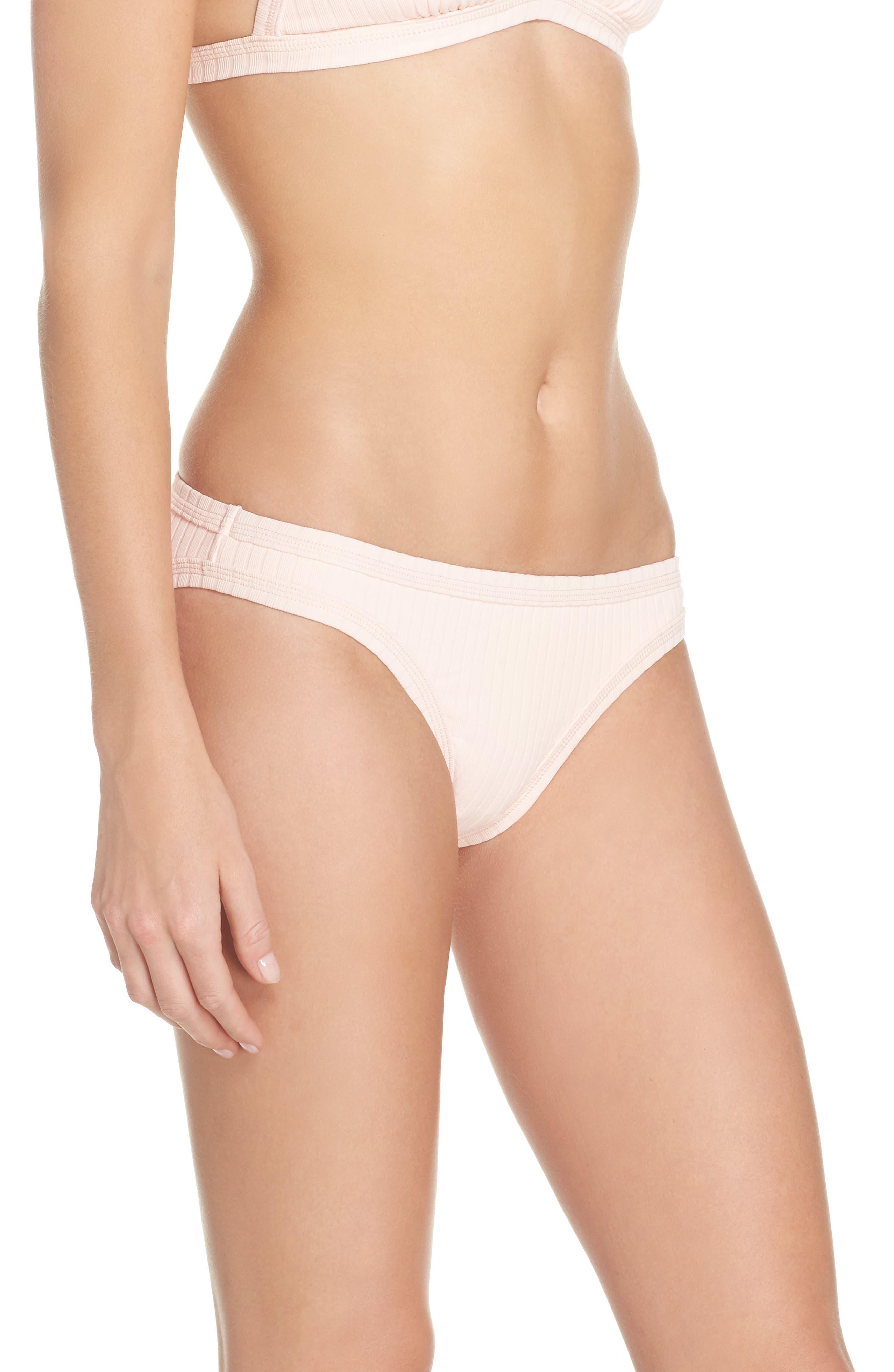 Inka Ribbed Bikini Bottoms,                             Alternate thumbnail 3, color,                             Rose Pink