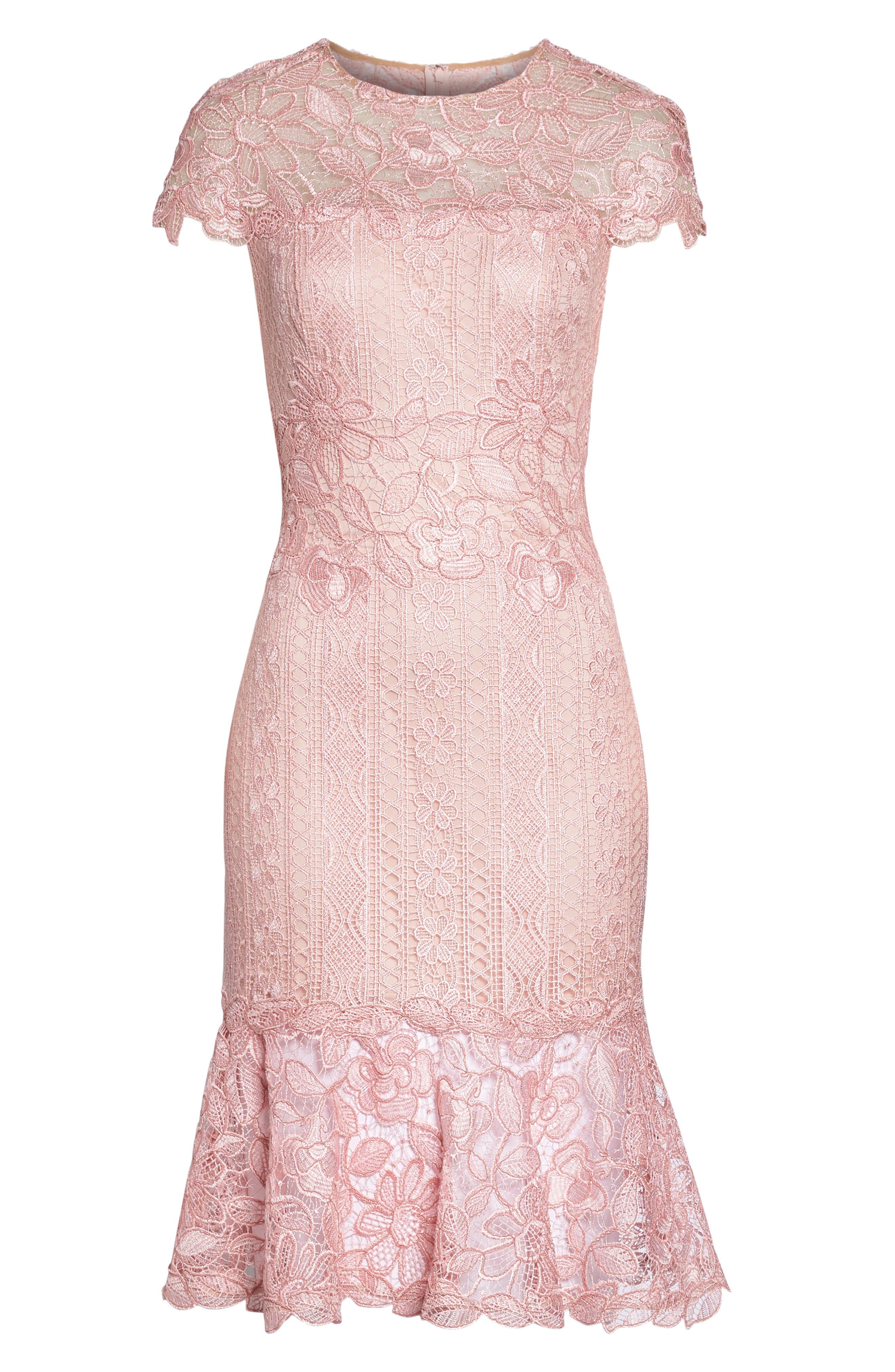Alice Flounce Hem Lace Dress,                             Alternate thumbnail 6, color,                             Rose Quartz