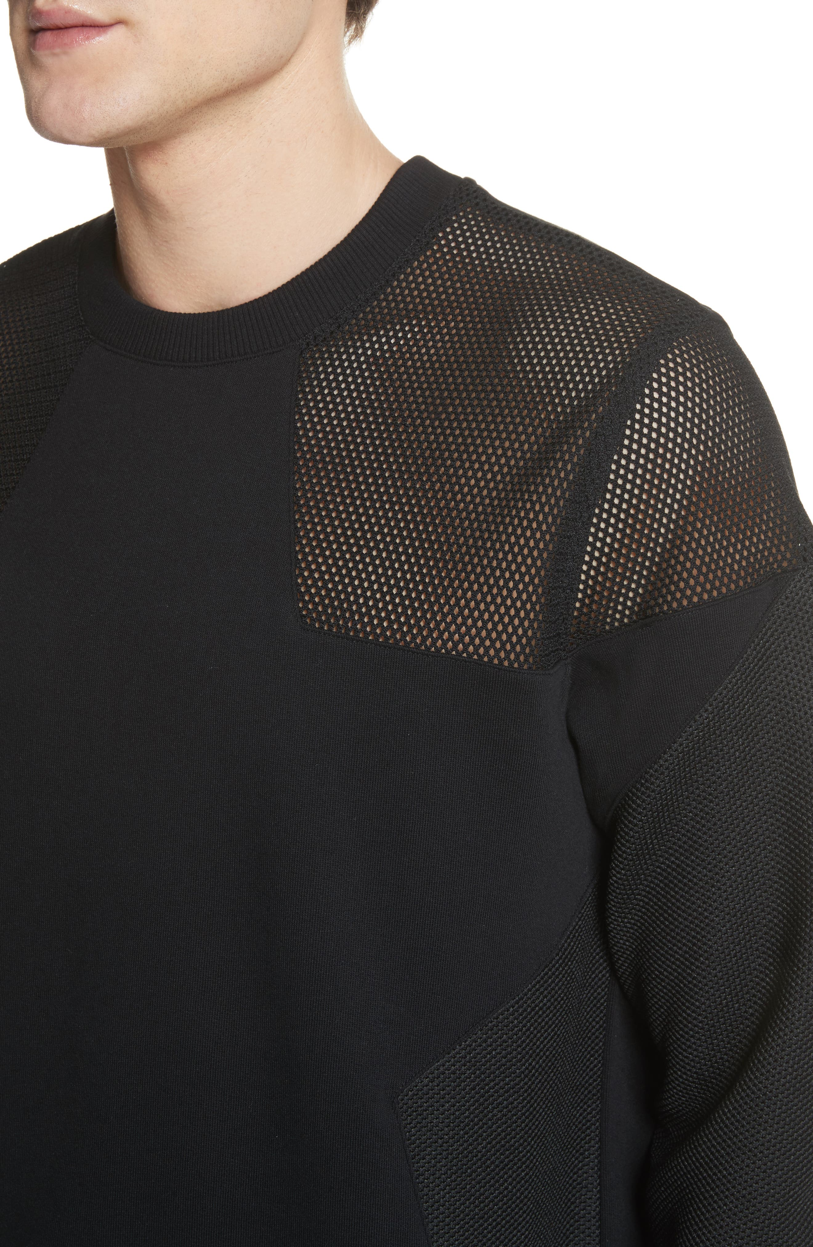 Mesh Star Crewneck Sweatshirt,                             Alternate thumbnail 4, color,                             Black