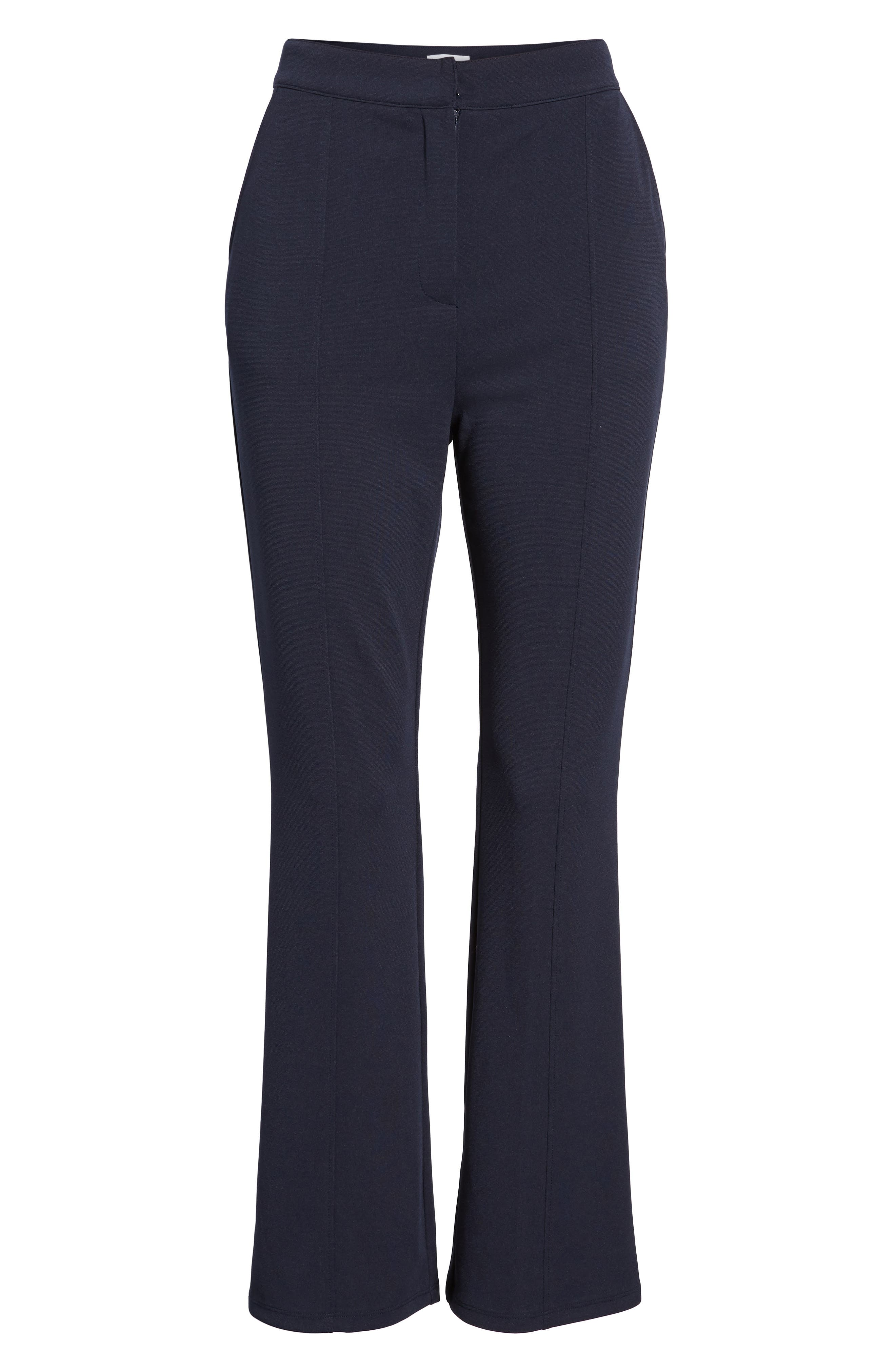 High Waist Crop Flare Pants,                             Alternate thumbnail 8, color,                             Navy Evening