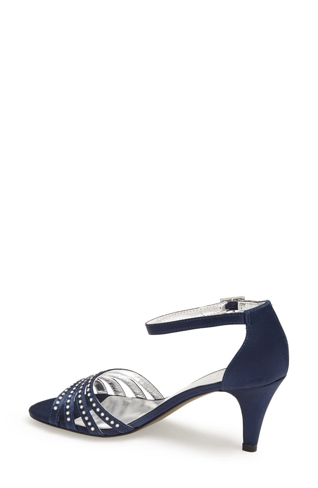 'Terra' Ankle Strap Sandal,                             Alternate thumbnail 2, color,                             Navy Satin