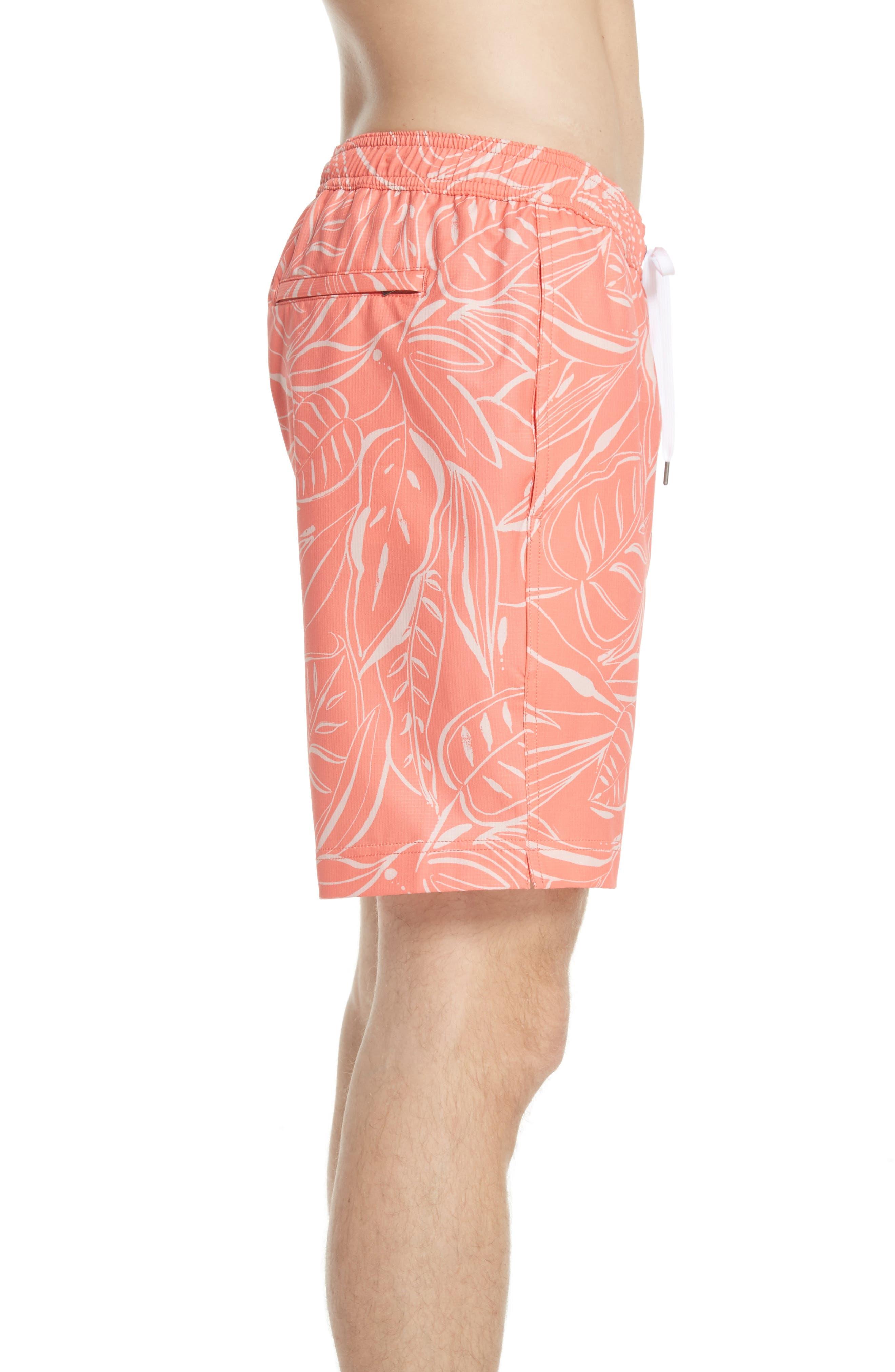 Charles Leaf Print Swim Trunks,                             Alternate thumbnail 3, color,                             Tangerine Coral