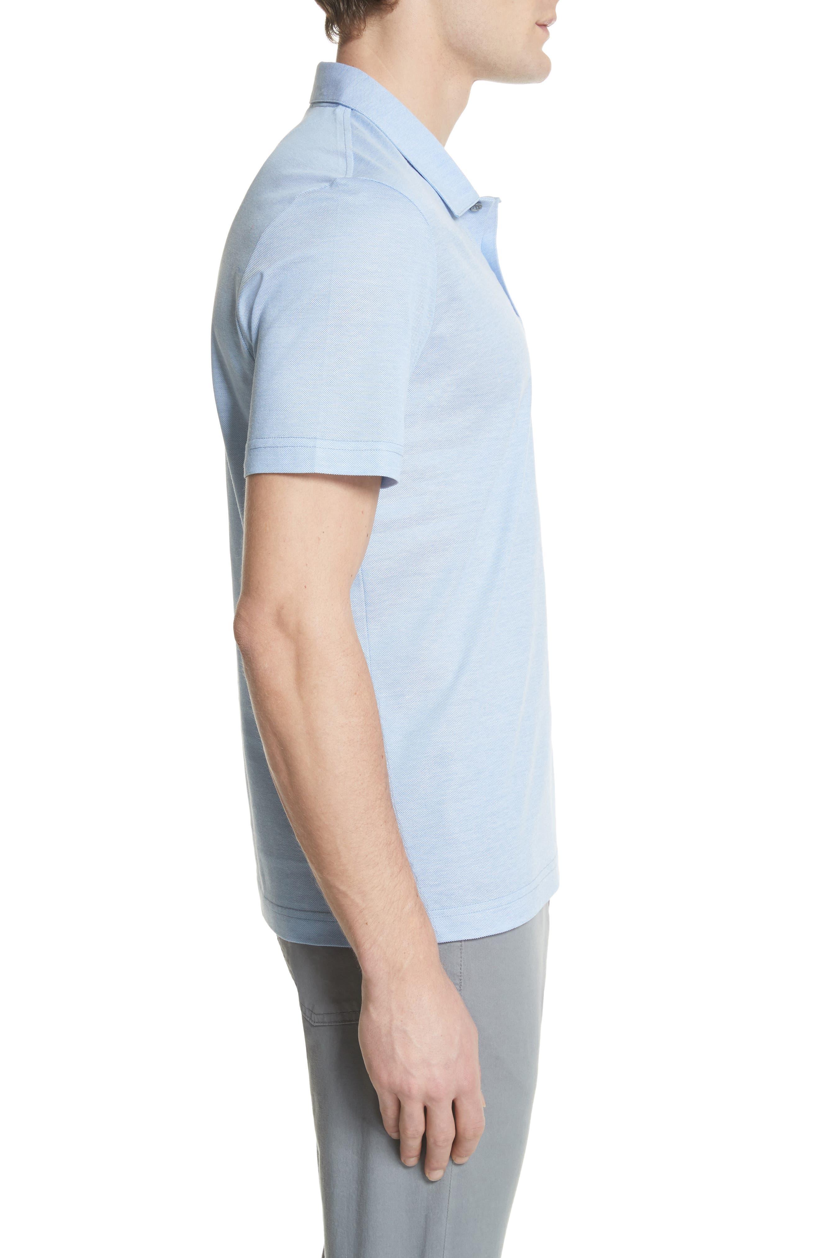 Piqué Polo Shirt,                             Alternate thumbnail 3, color,                             Sky Blue