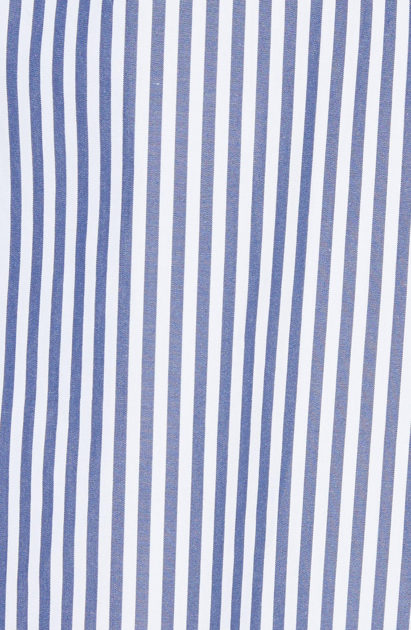 Clean Stripe Shirtdress,                             Alternate thumbnail 4, color,                             Blue/ White
