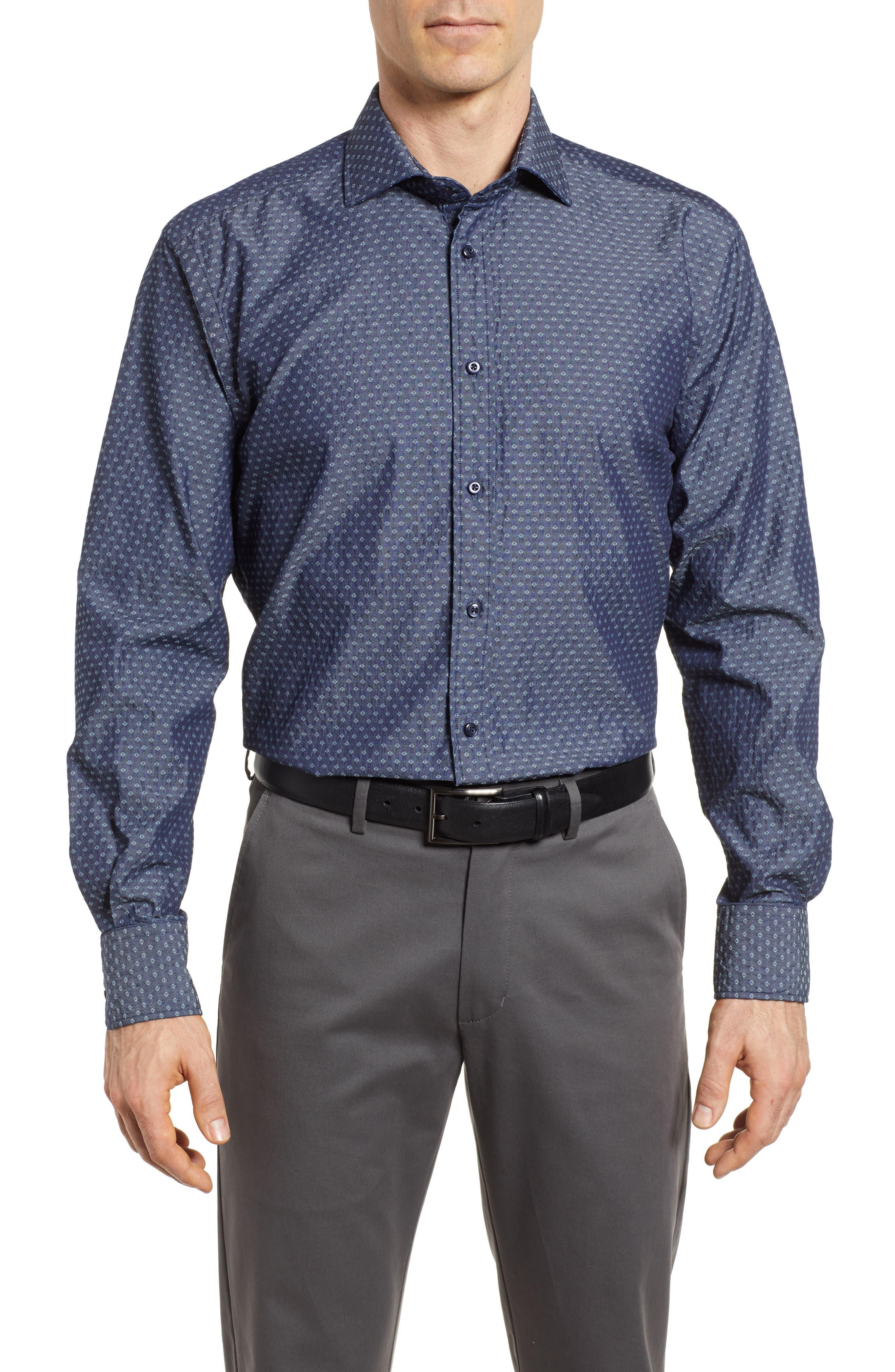 Print Sport Shirt,                         Main,                         color, Dark Blue