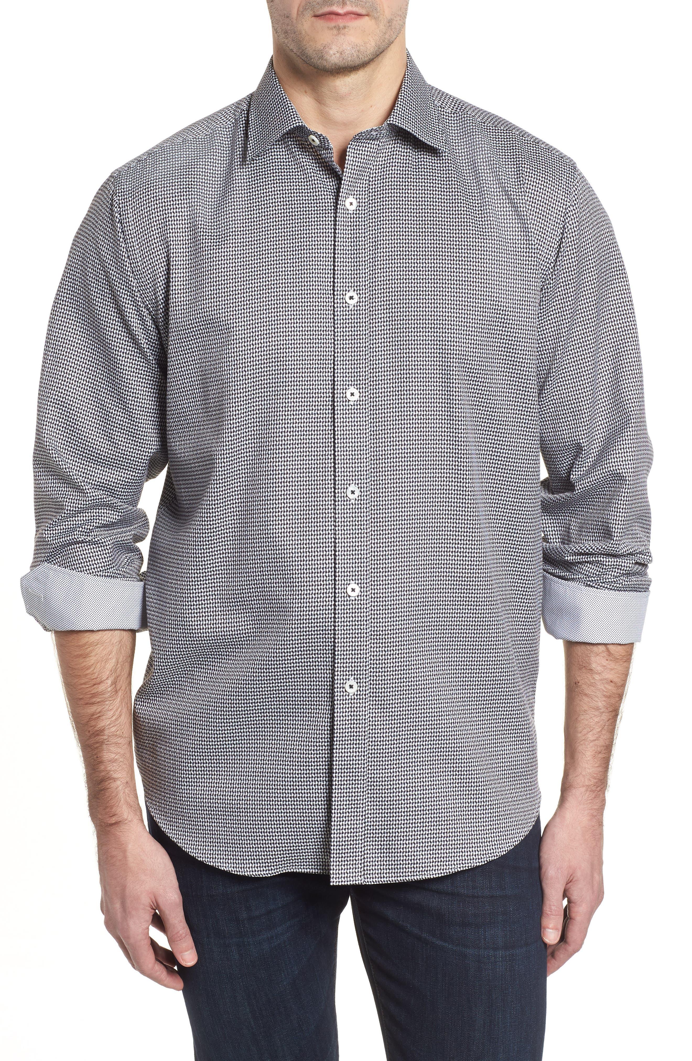 Classic Fit Lines of Distinction Print Sport Shirt,                             Main thumbnail 1, color,                             Black