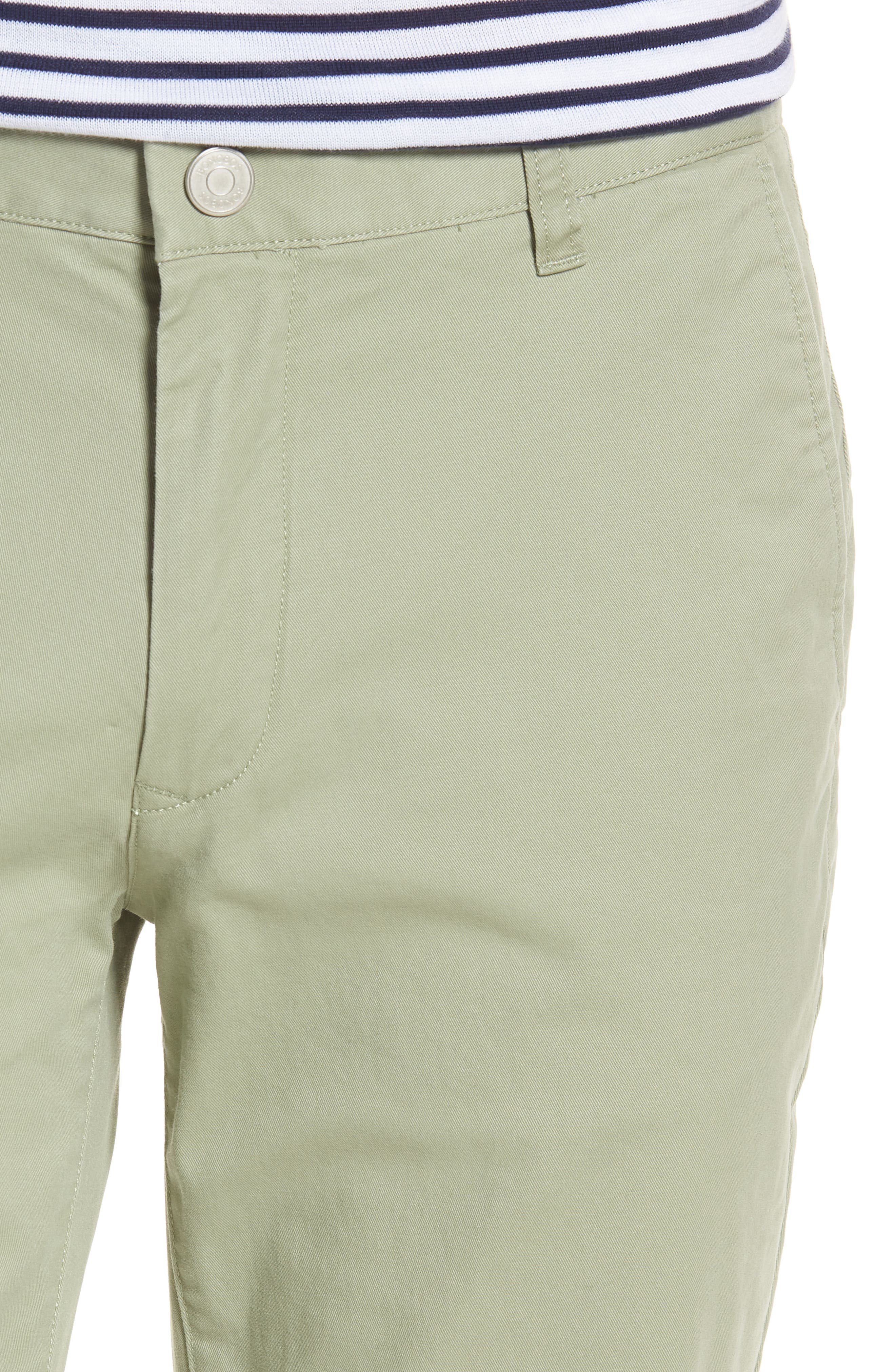 Tailored Fit Washed Stretch Cotton Chinos,                             Alternate thumbnail 4, color,                             Sage Brush