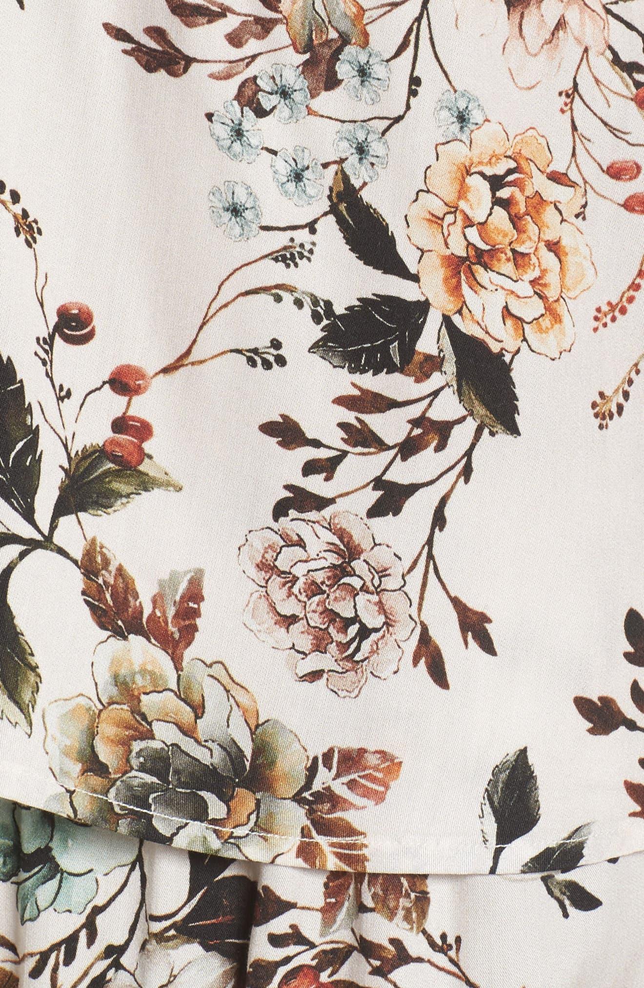 Floral Poppy Short & Camisole Pajamas,                             Alternate thumbnail 6, color,                             Cream Dusk