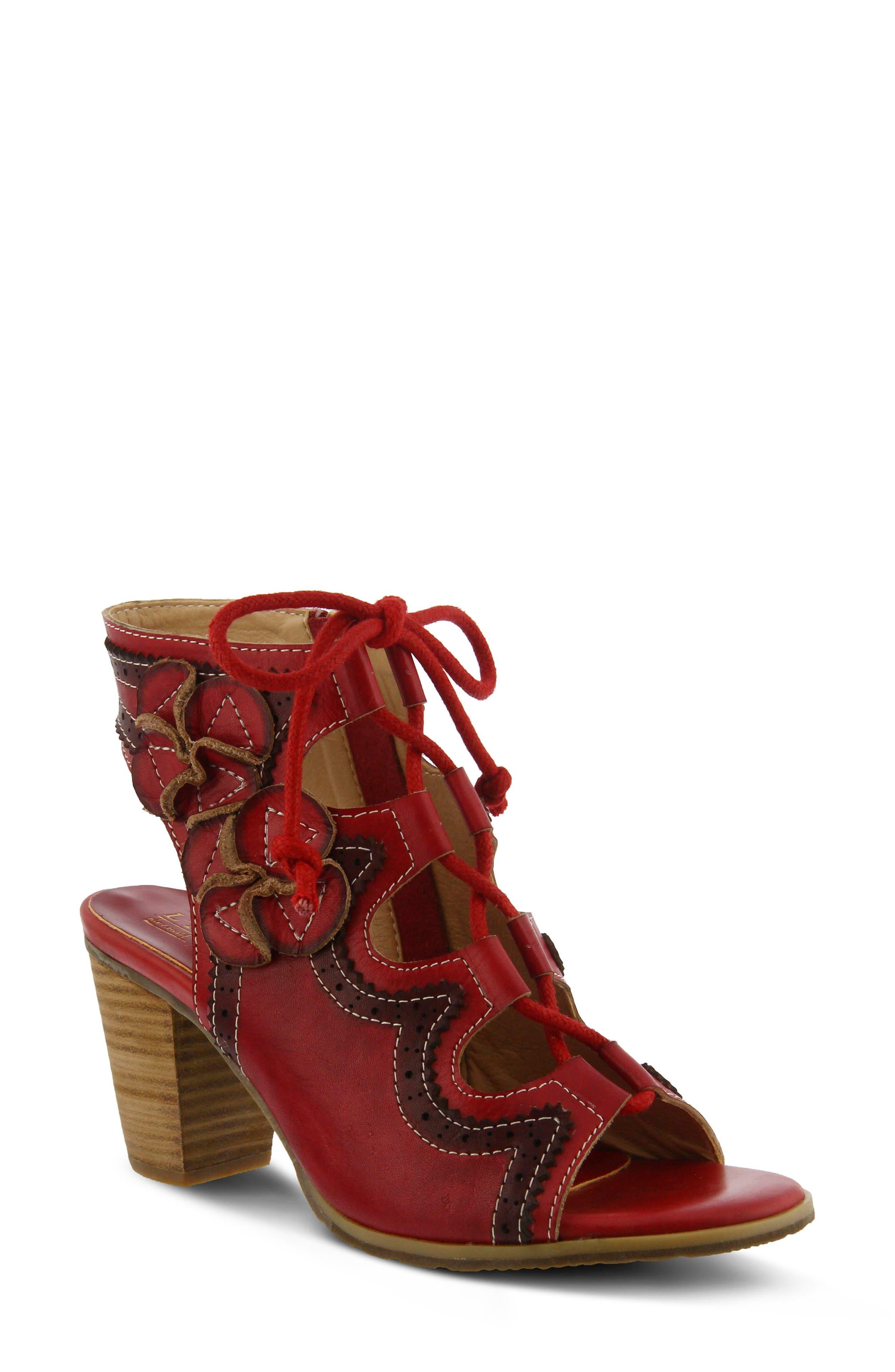 L'Artiste Alejandra Sandal,                             Main thumbnail 1, color,                             Red Leather