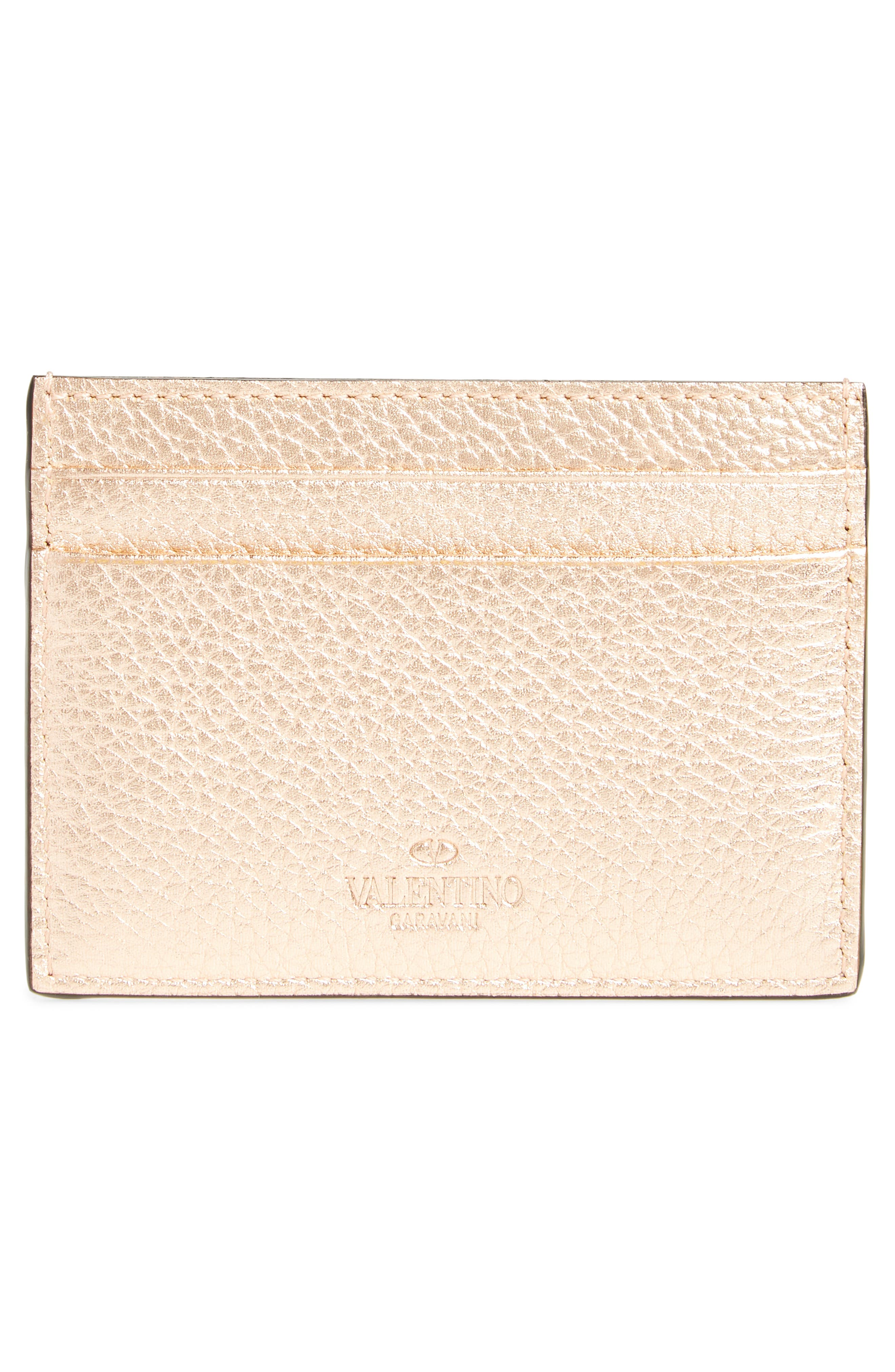 Rockstud Metallic Leather Card Holder,                             Alternate thumbnail 2, color,                             Rosegold