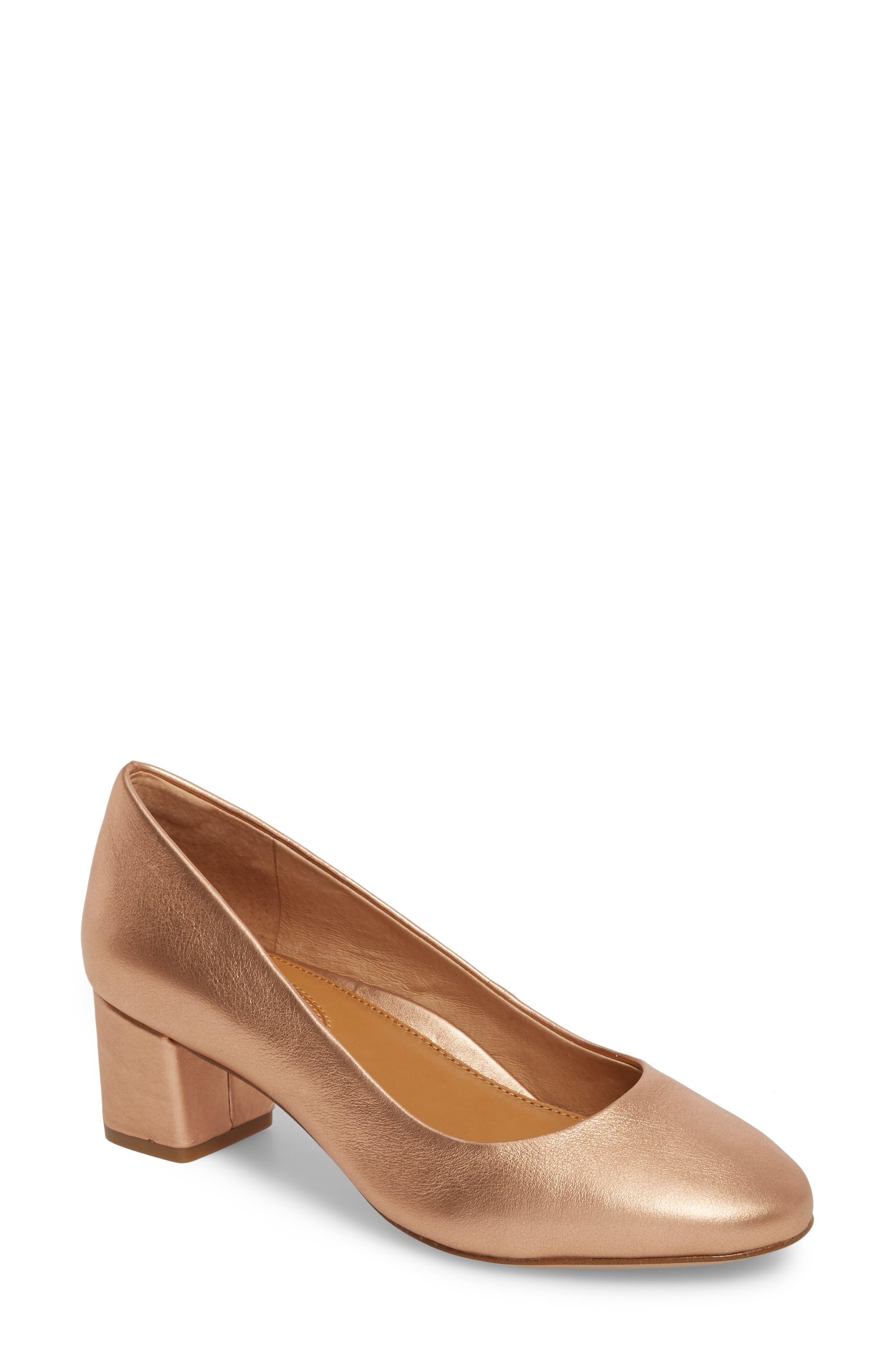 Gwynn Block Heel Pump,                         Main,                         color, Rose Gold Leather