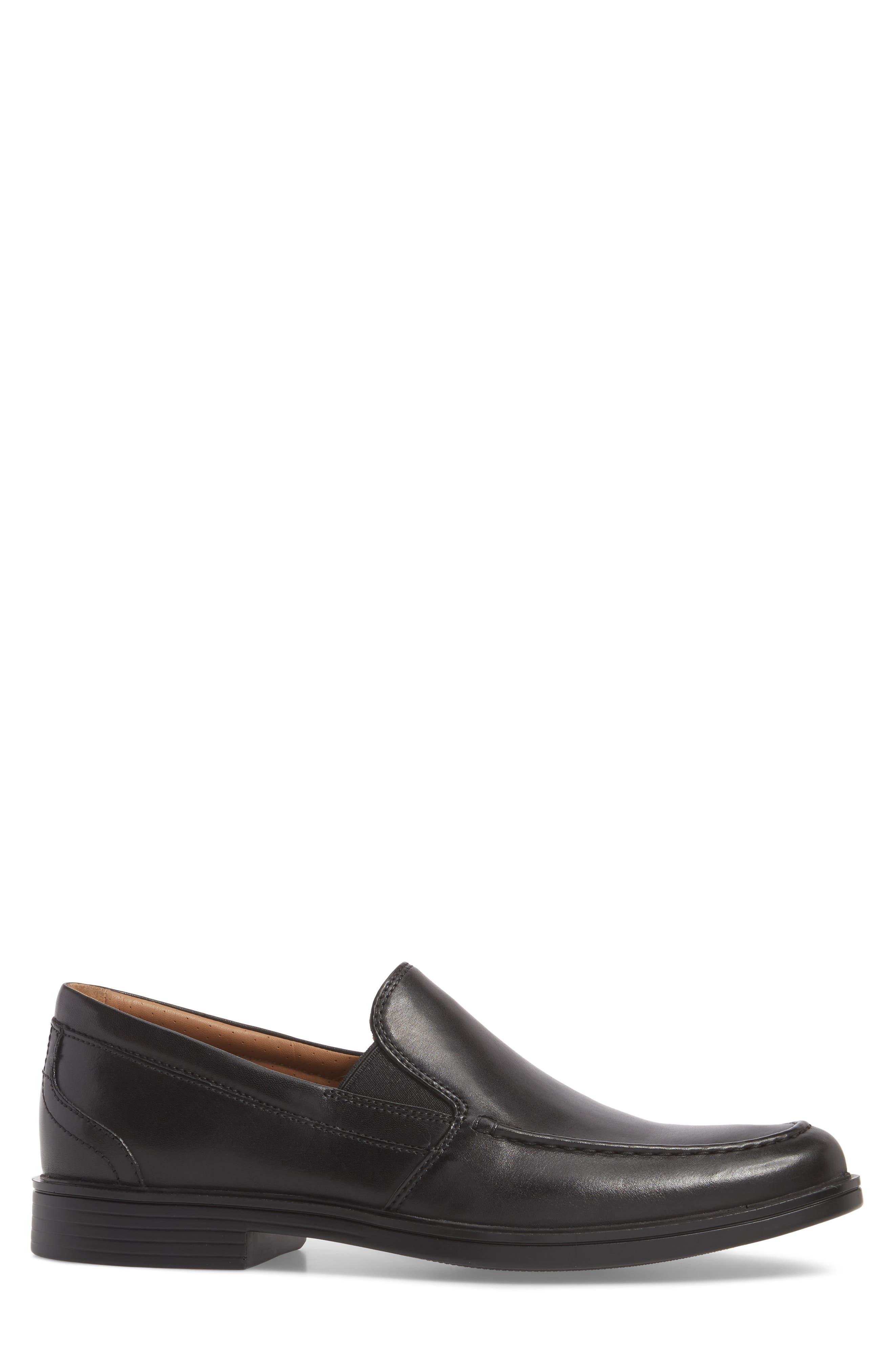 Unaldric Apron Toe Loafer,                             Alternate thumbnail 3, color,                             Black Leather
