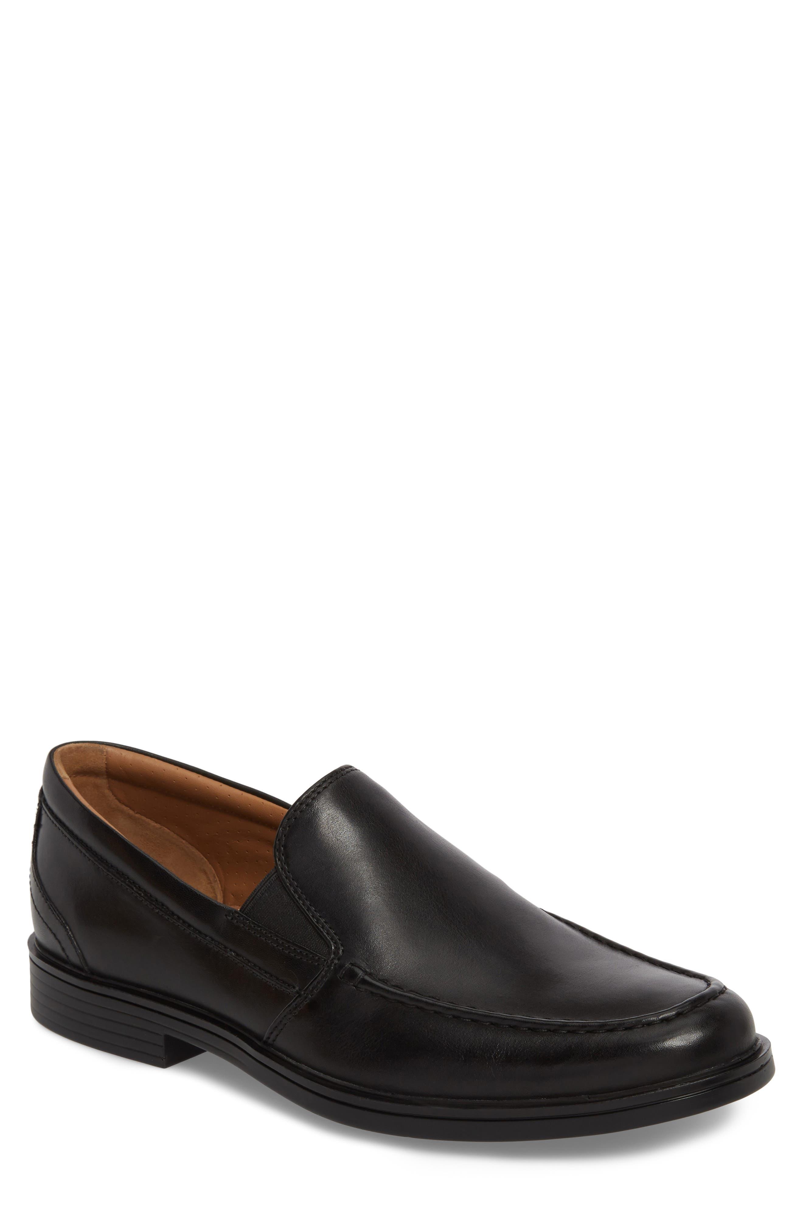 Unaldric Apron Toe Loafer,                         Main,                         color, Black Leather