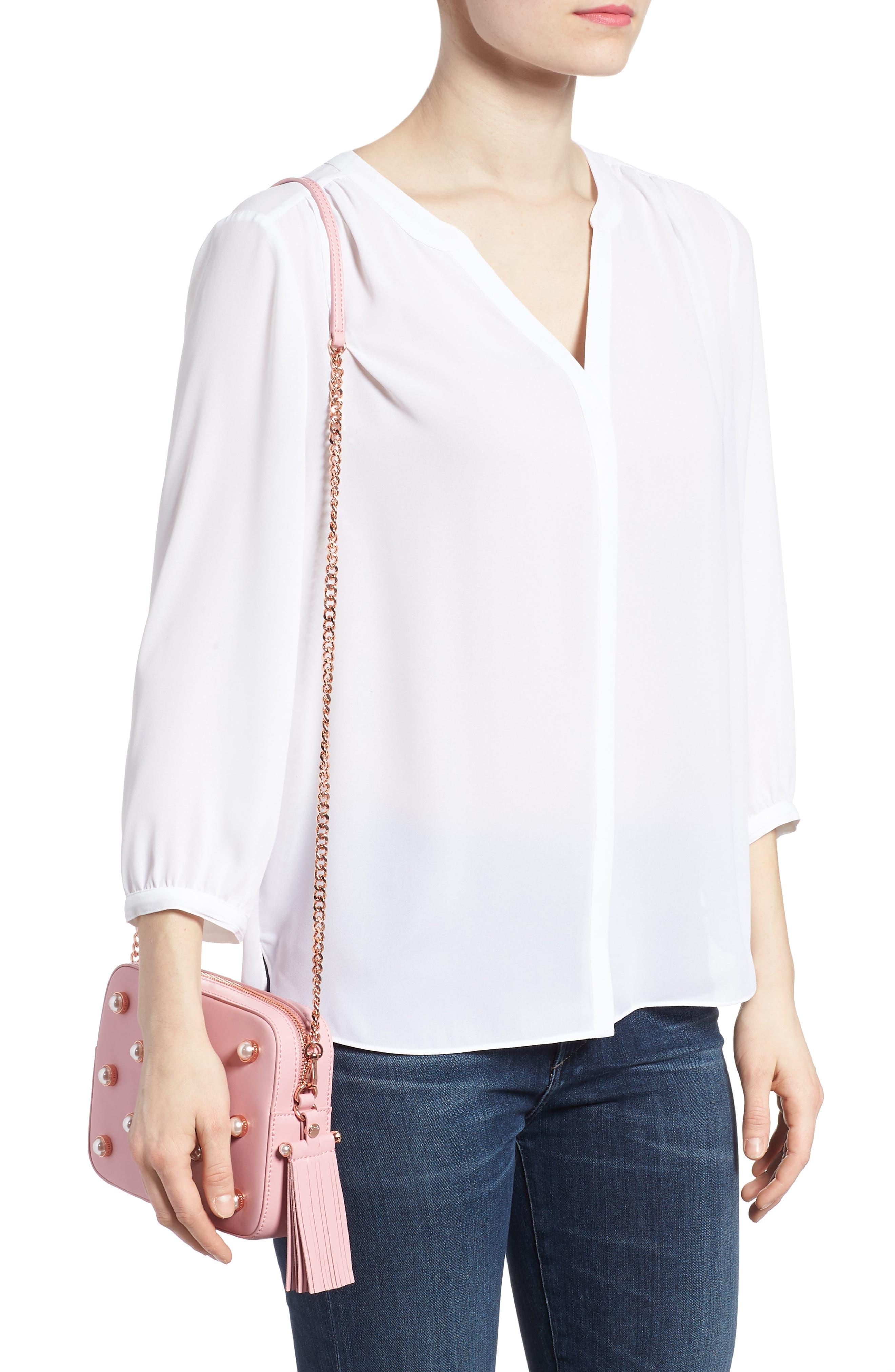 Alessia Imitation Pearl Embellished Leather Crossbody,                             Alternate thumbnail 2, color,                             Dusky Pink