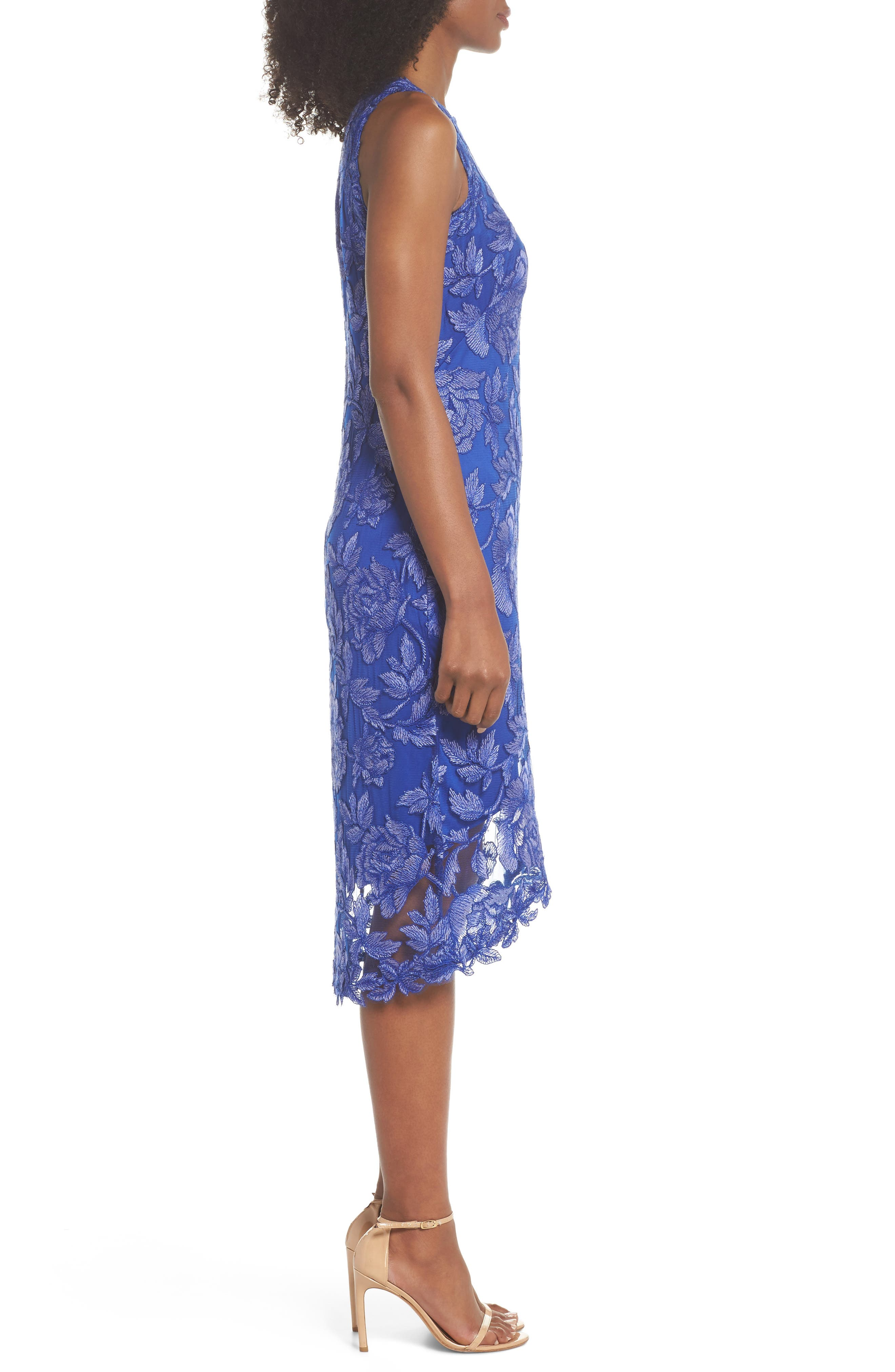 Embroidered Floral Sheath Dress,                             Alternate thumbnail 3, color,                             Blue Lily