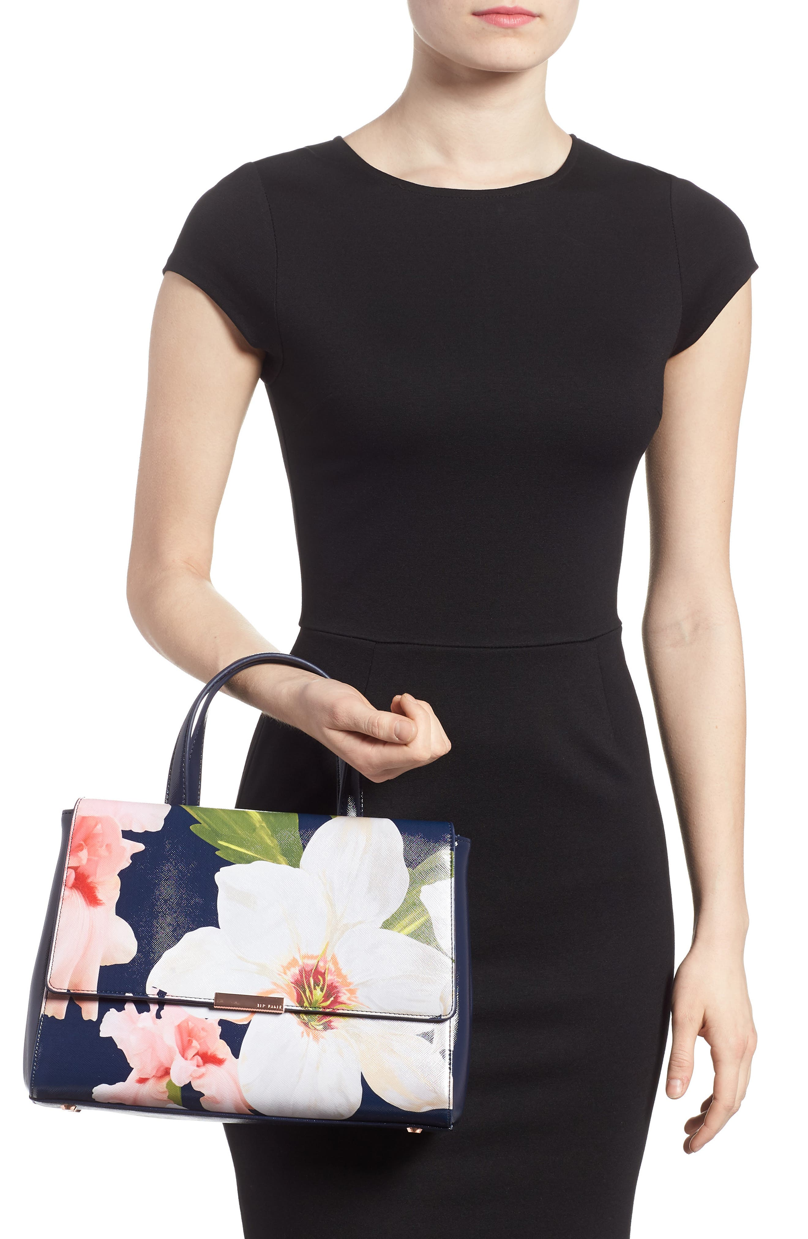 Peobe Chatsworth Bloom Faux Leather Satchel,                             Alternate thumbnail 2, color,                             Navy