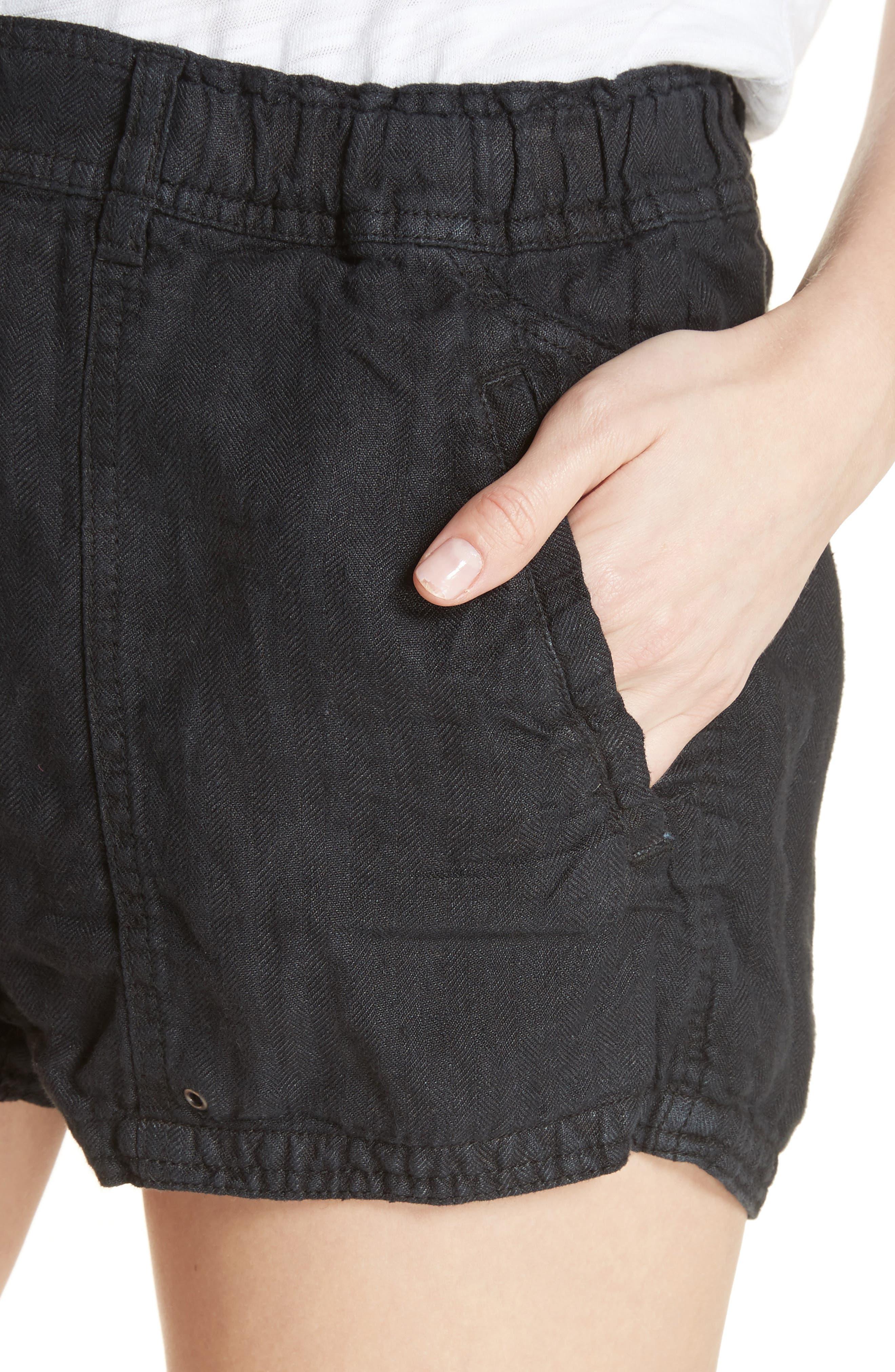 Beacon Utility Linen Shorts,                             Alternate thumbnail 4, color,                             Black