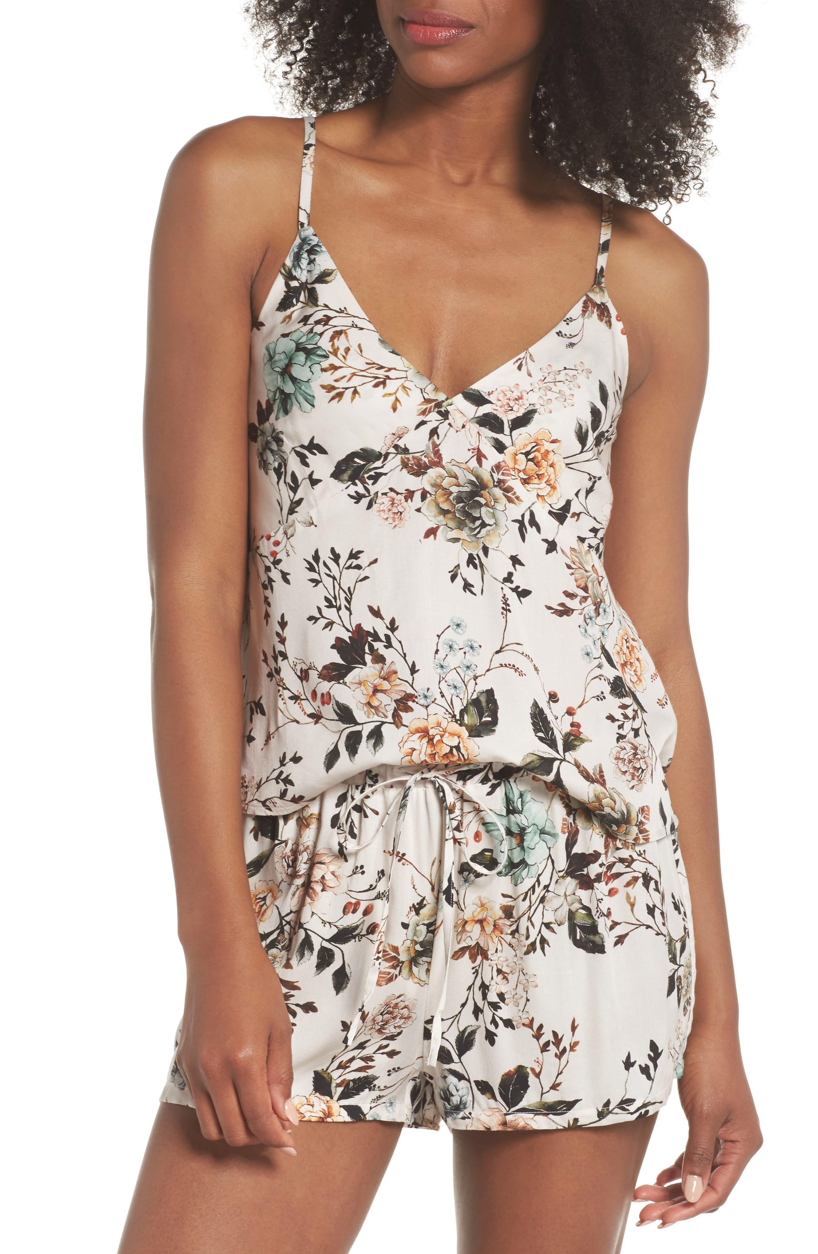 Floral Poppy Short & Camisole Pajamas,                         Main,                         color, Cream Dusk