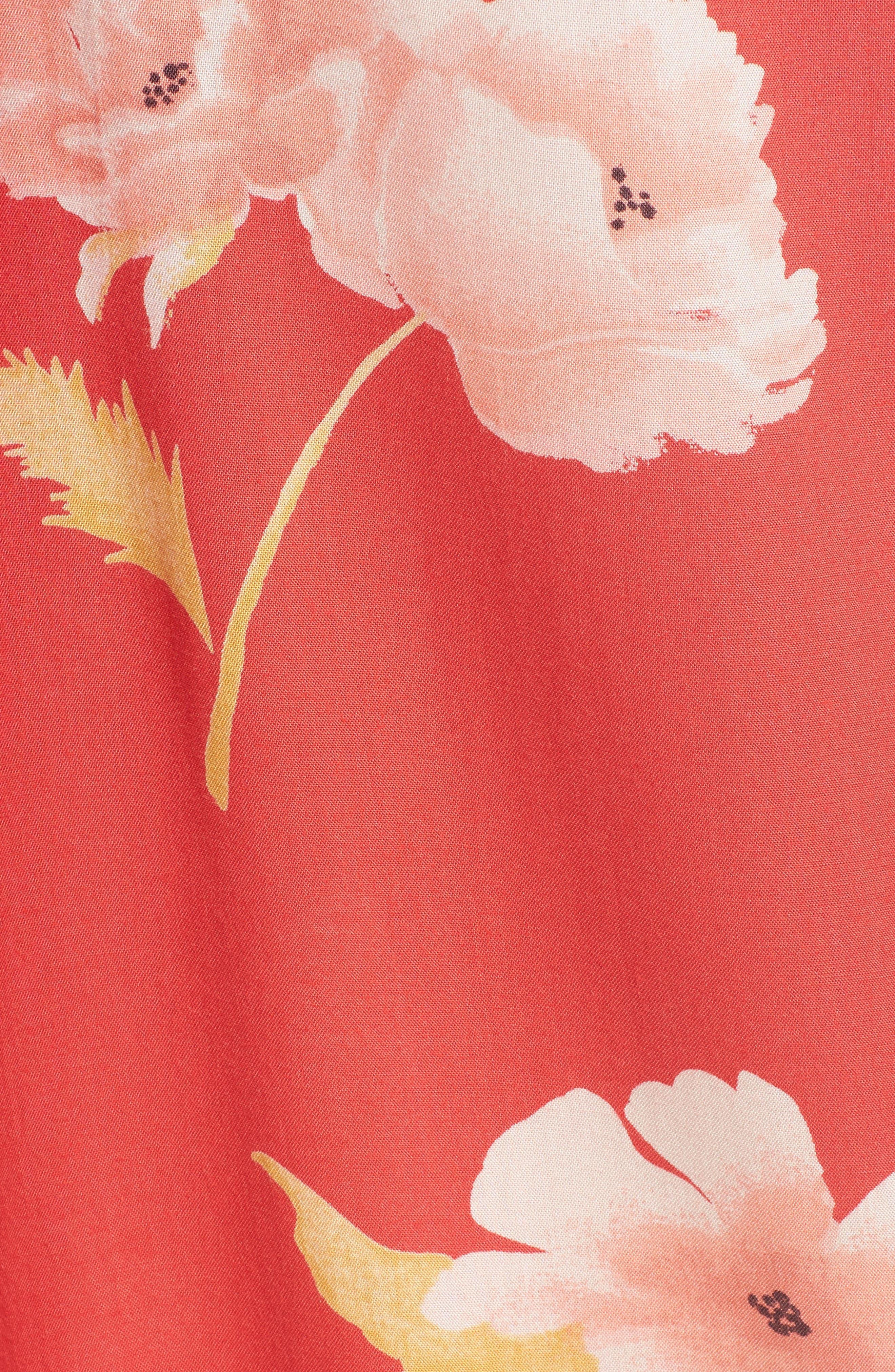Happy Dance Floral Wide Leg Pants,                             Alternate thumbnail 6, color,                             Ger-Geranium