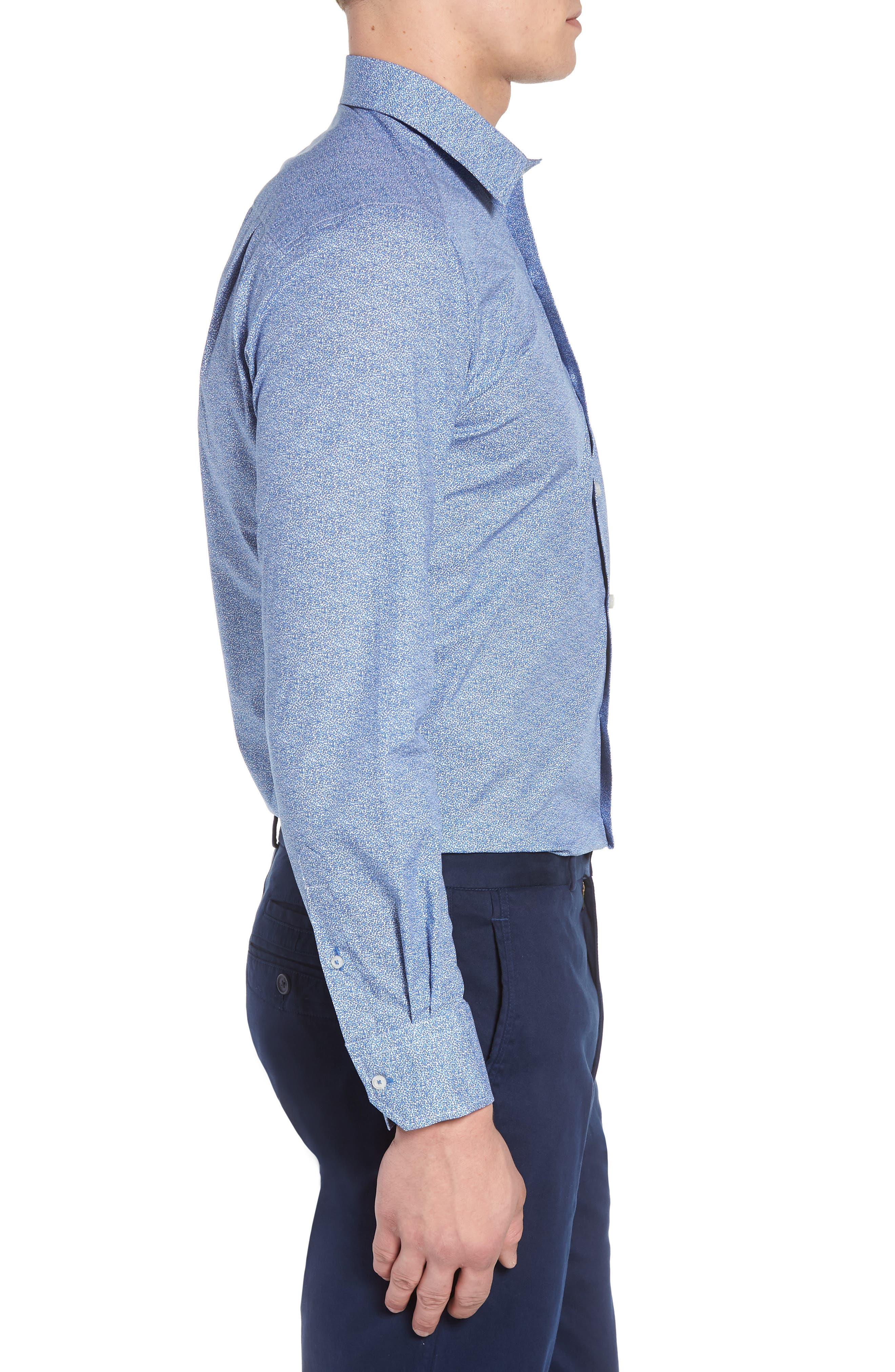 Regular Fit Microprint Sport Shirt,                             Alternate thumbnail 3, color,                             Blue