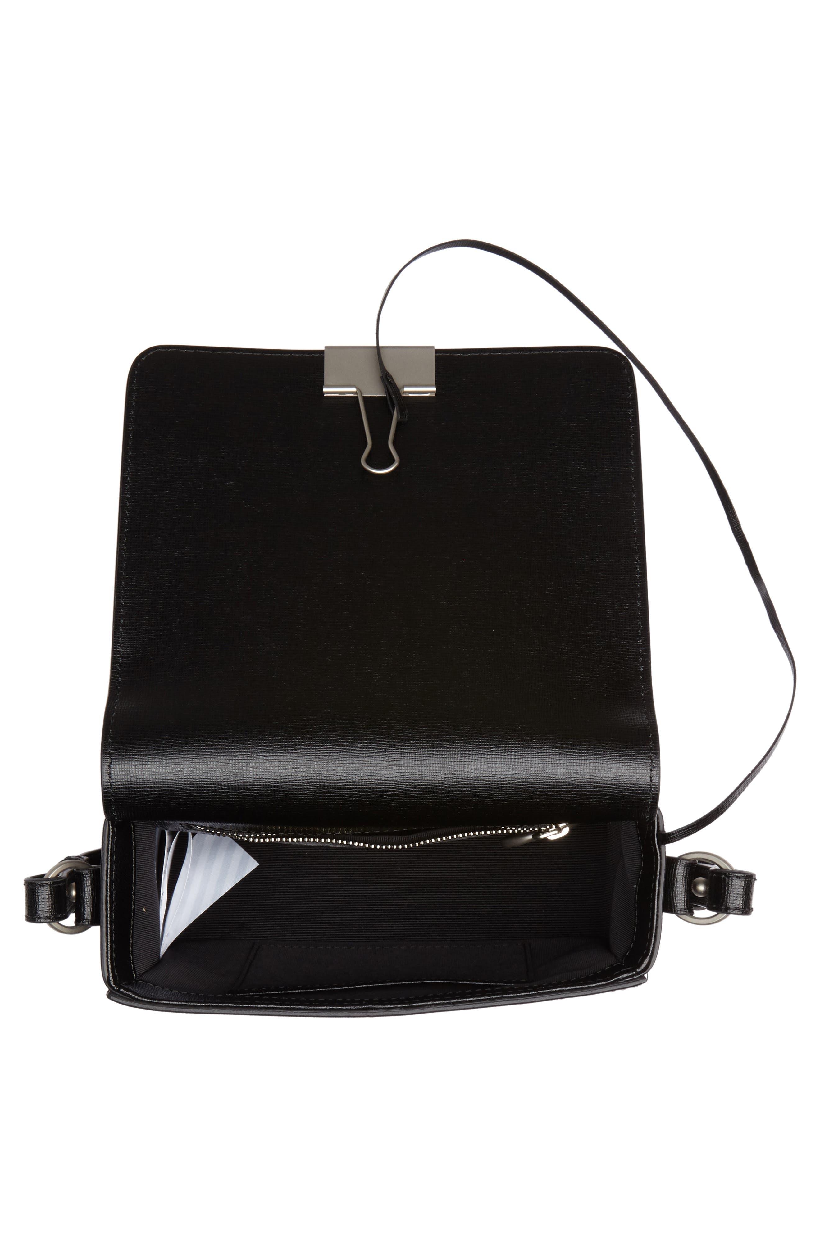 Virgil Was Here Binder Clip Leather Shoulder Bag,                             Alternate thumbnail 5, color,                             Black White