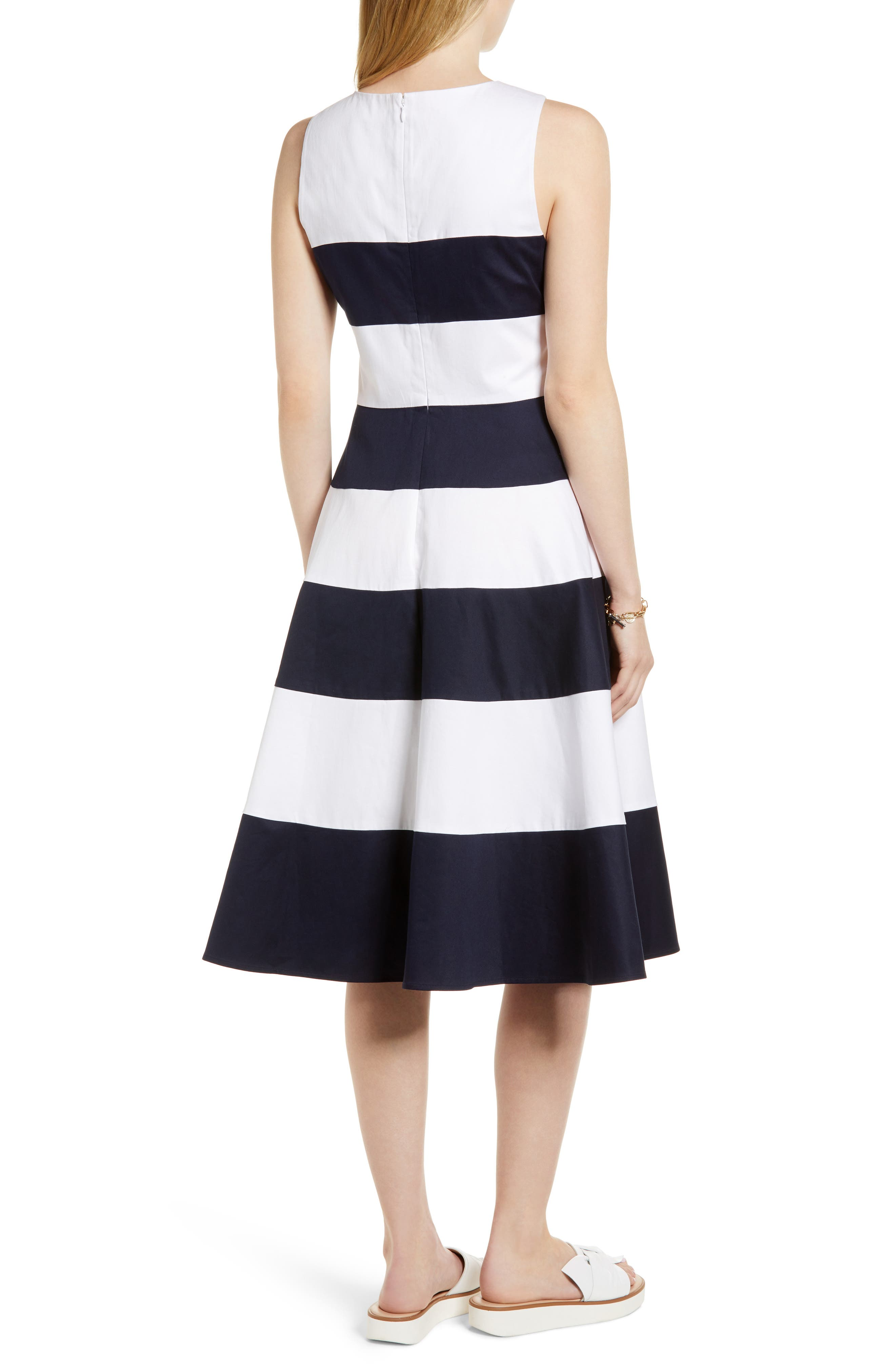 Alternate Image 2  - 1901 Stripe Fit & Flare Dress
