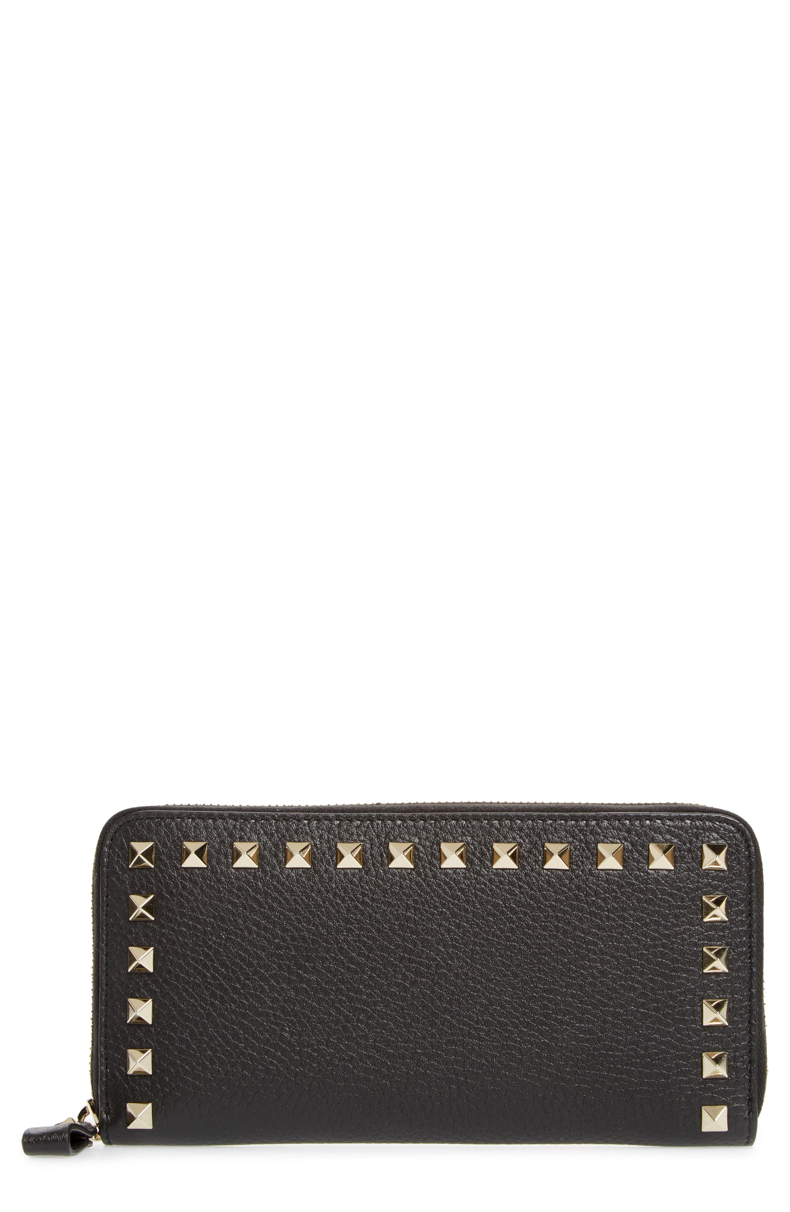 Rockstud Zip Around Leather Continental Wallet,                         Main,                         color, Nero