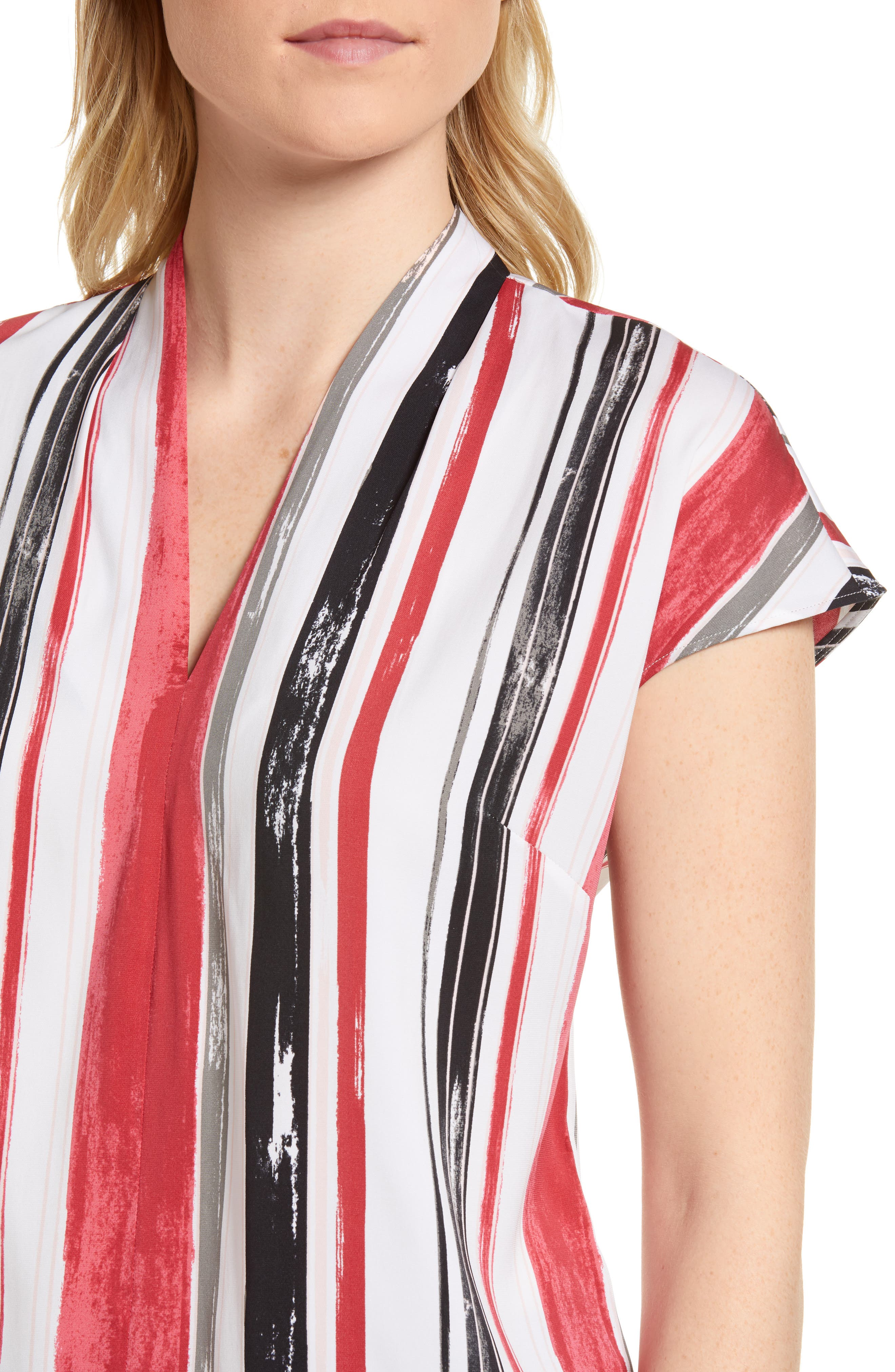 Short Sleeve Stripe Stretch Silk Blouse,                             Alternate thumbnail 4, color,                             Ivory- Pink Multi Stripe