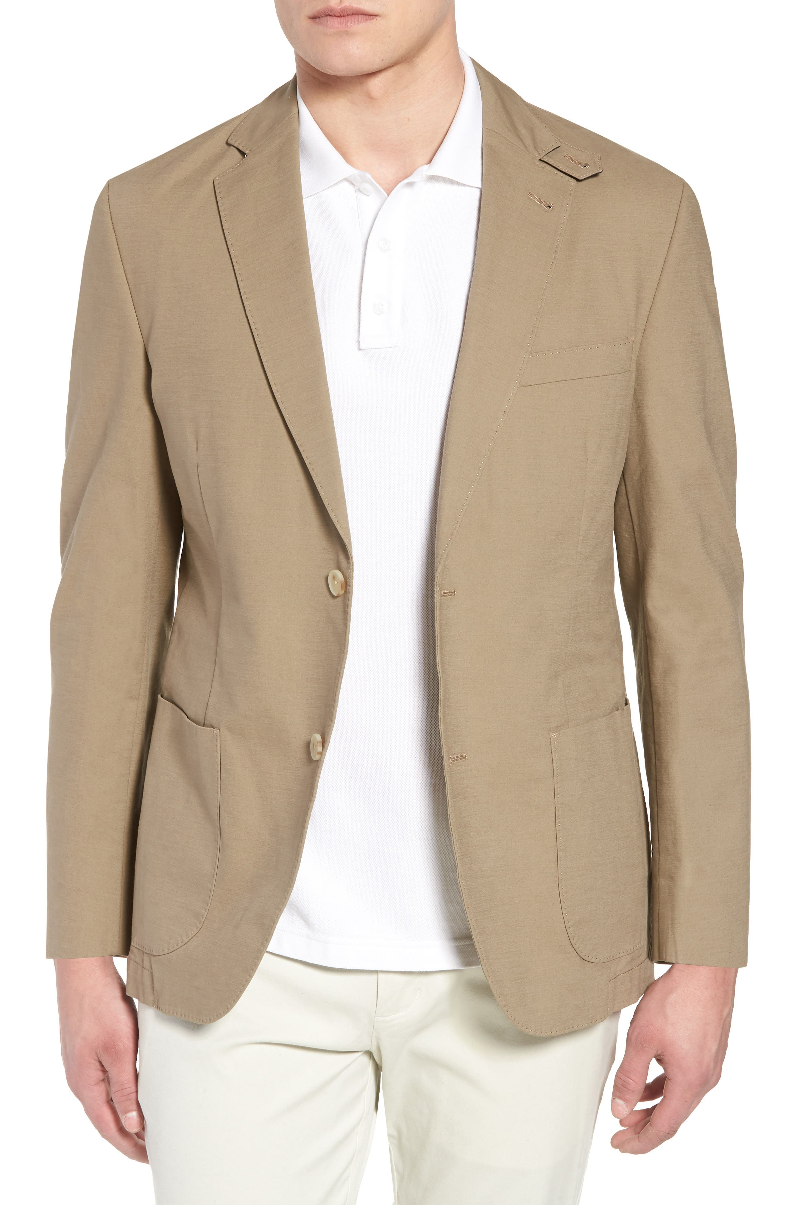 Bono AIM Classic Fit Stretch Cotton Blazer,                             Main thumbnail 1, color,                             Khaki