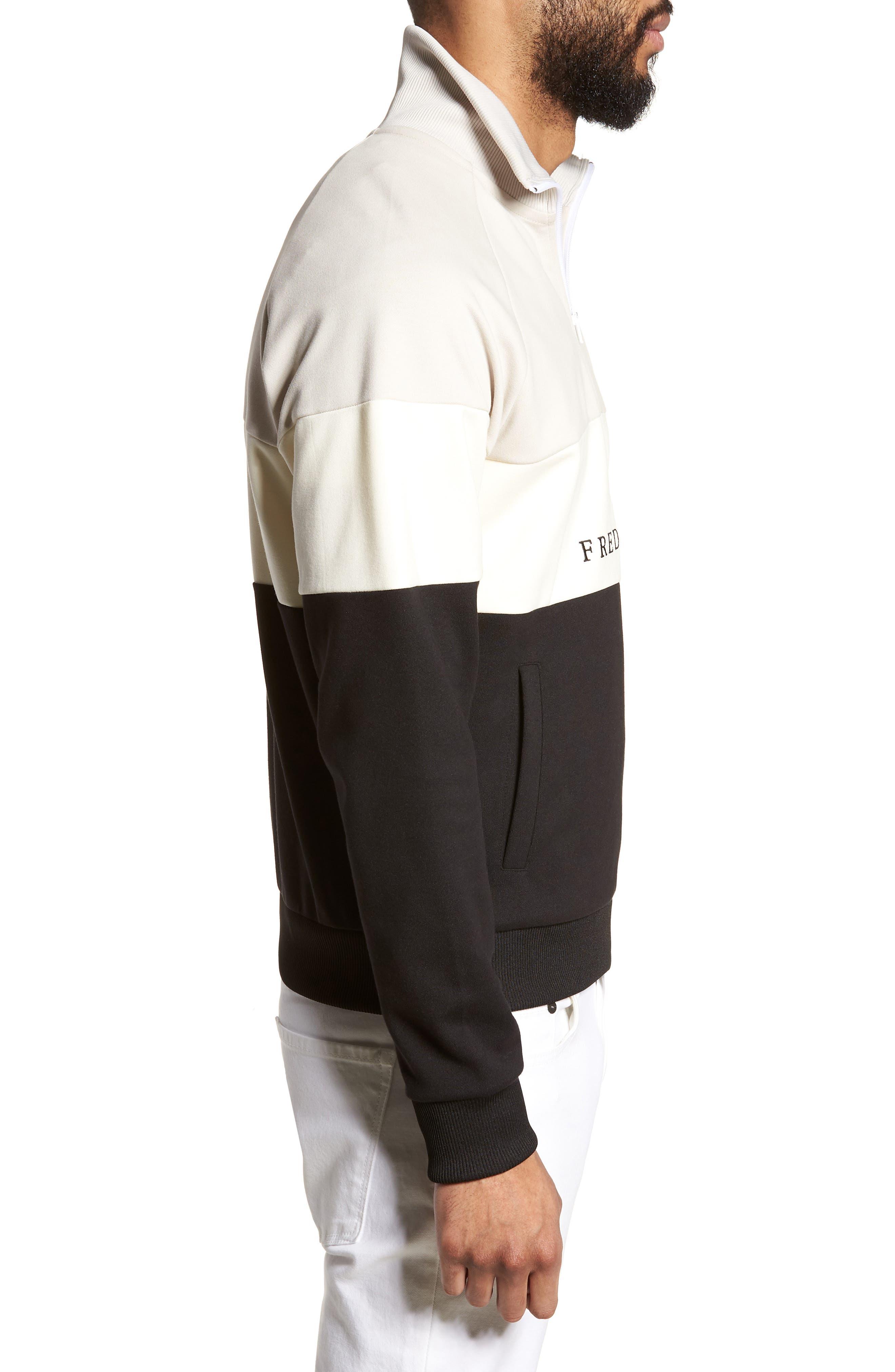 Embroidered Panel Quarter Zip Pullover,                             Alternate thumbnail 3, color,                             Black