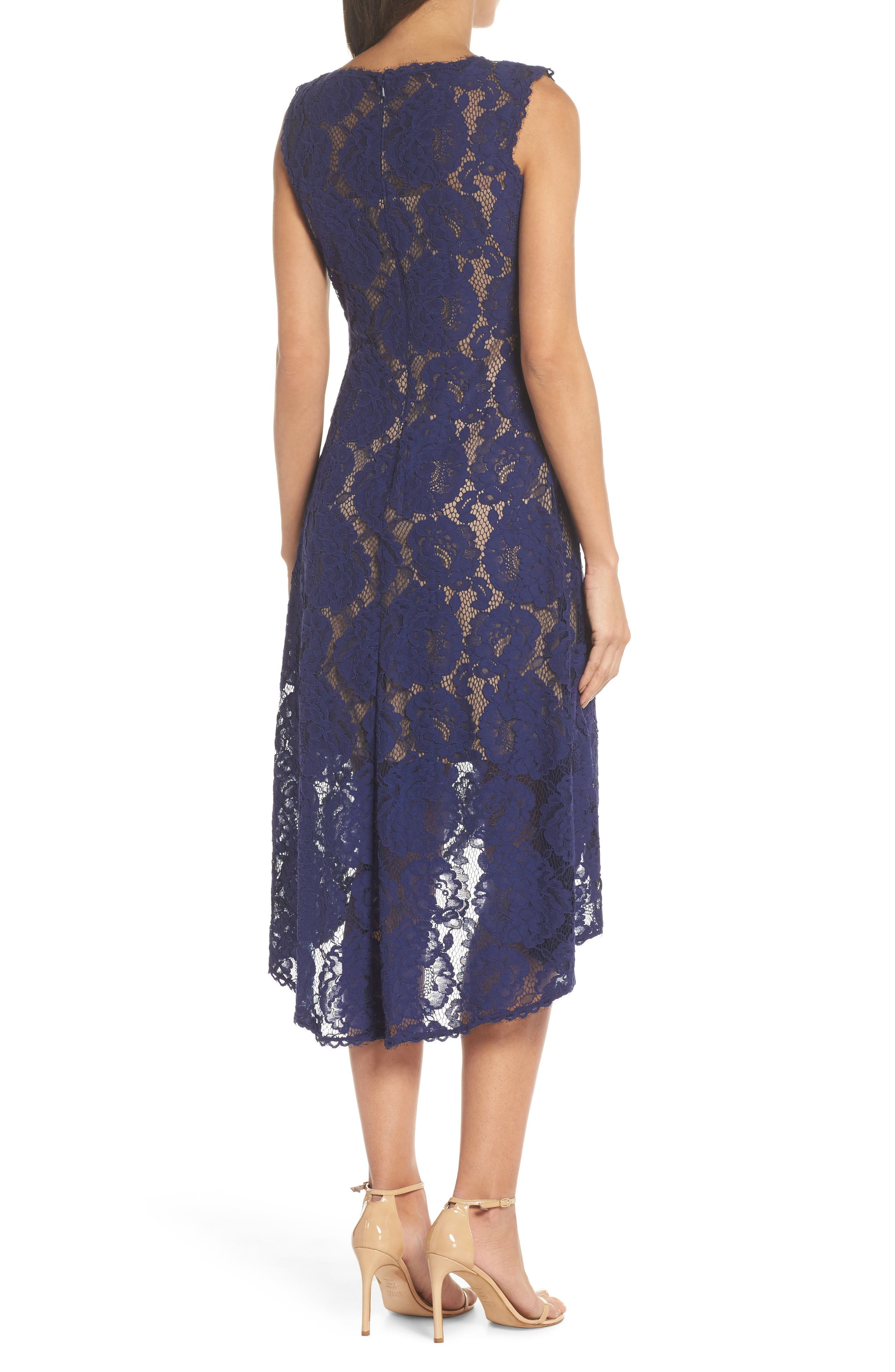 High/Low Lace Dress,                             Alternate thumbnail 2, color,                             Notte/ Nude