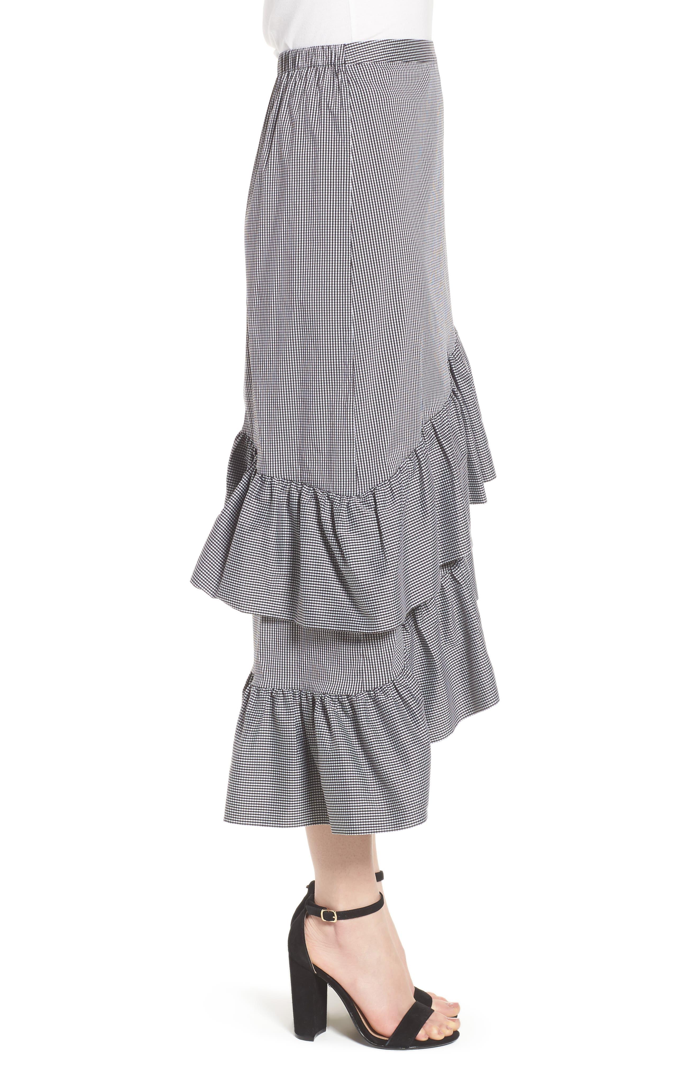 Gingham Ruffle Skirt,                             Alternate thumbnail 3, color,                             Black- White Mini Gingham