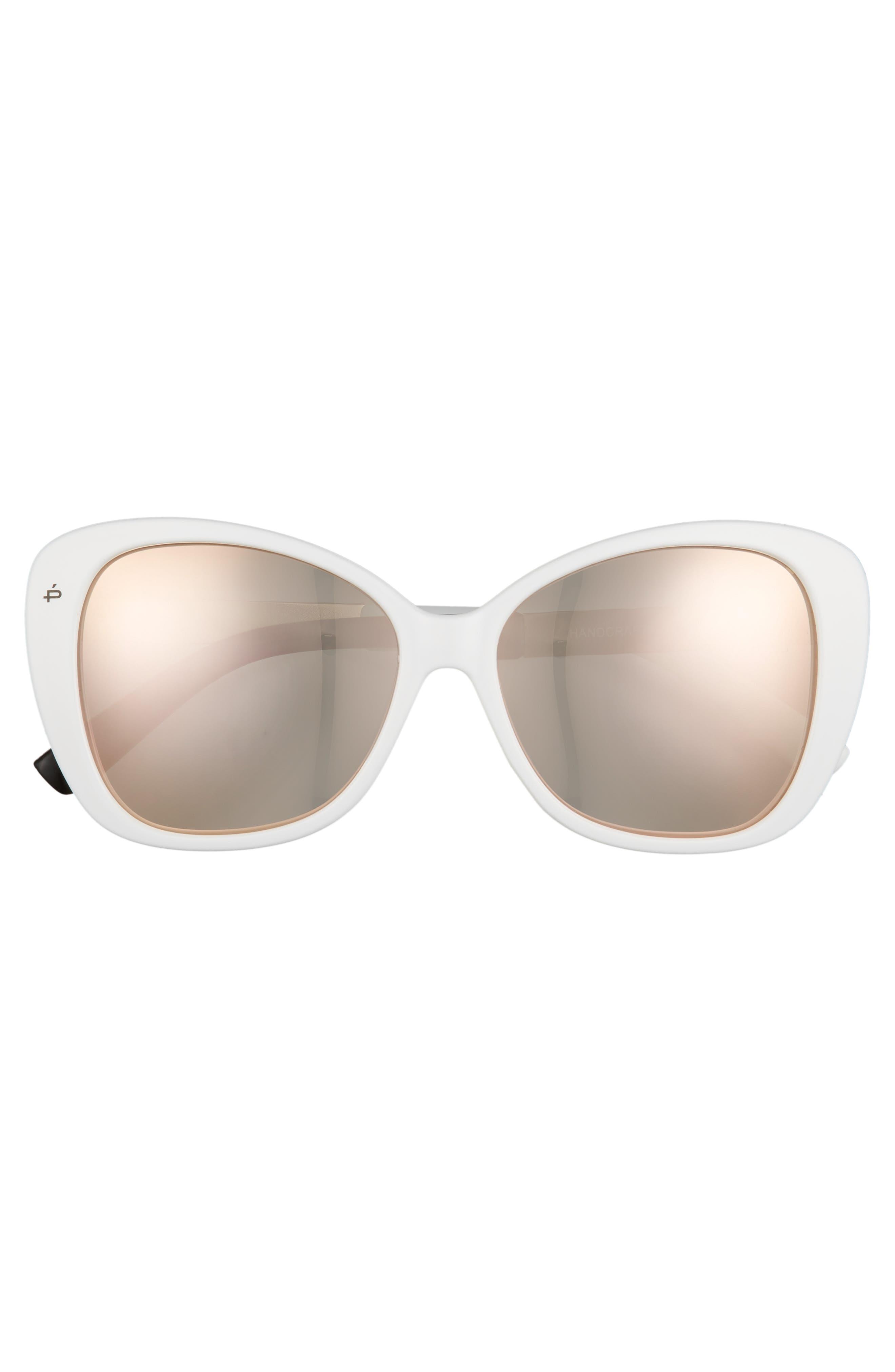 Privé Revaux The Jackie O 56mm Cat Eye Sunglasses,                             Alternate thumbnail 3, color,                             White Polarized