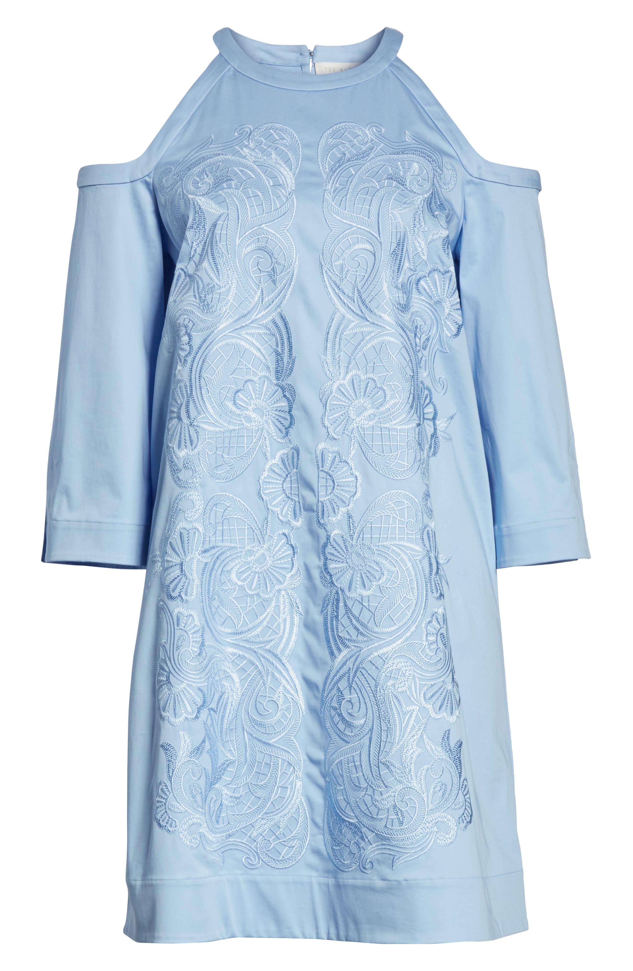 Cold Shoulder Shift Dress,                             Alternate thumbnail 6, color,                             Baby Blue