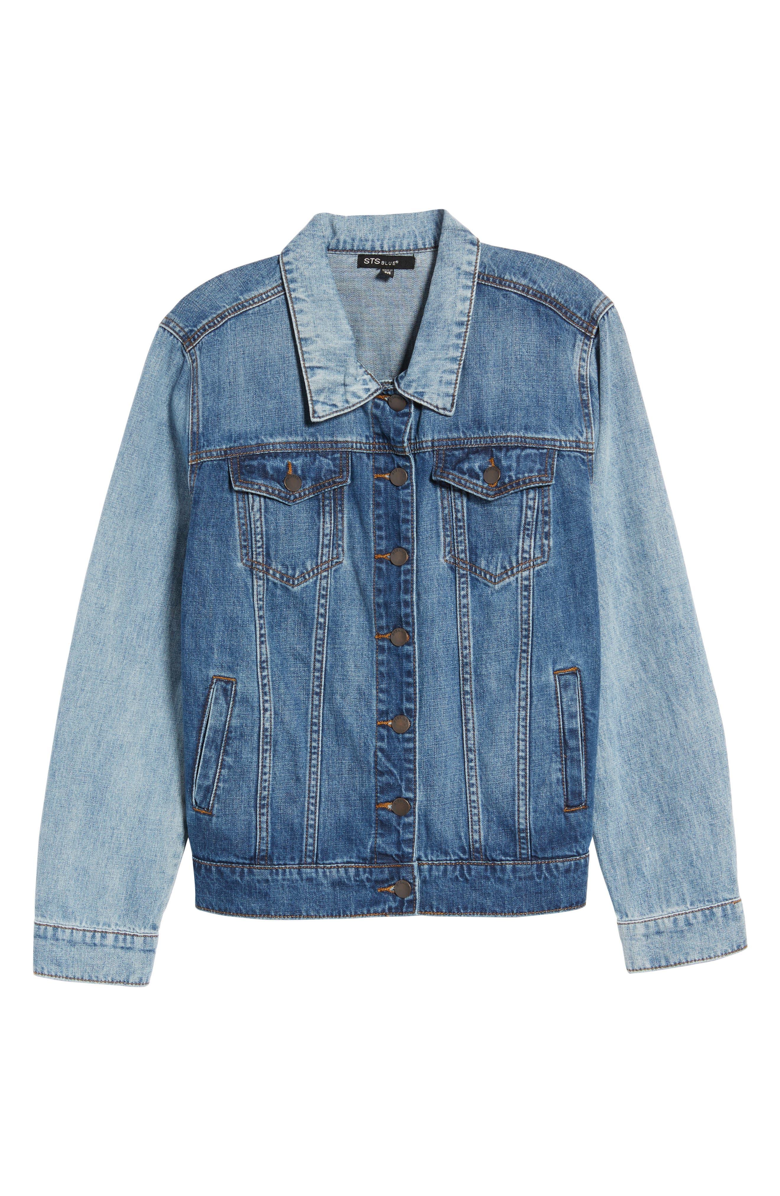 Oversize Colorblock Denim Jacket,                             Alternate thumbnail 7, color,                             Oakhurst