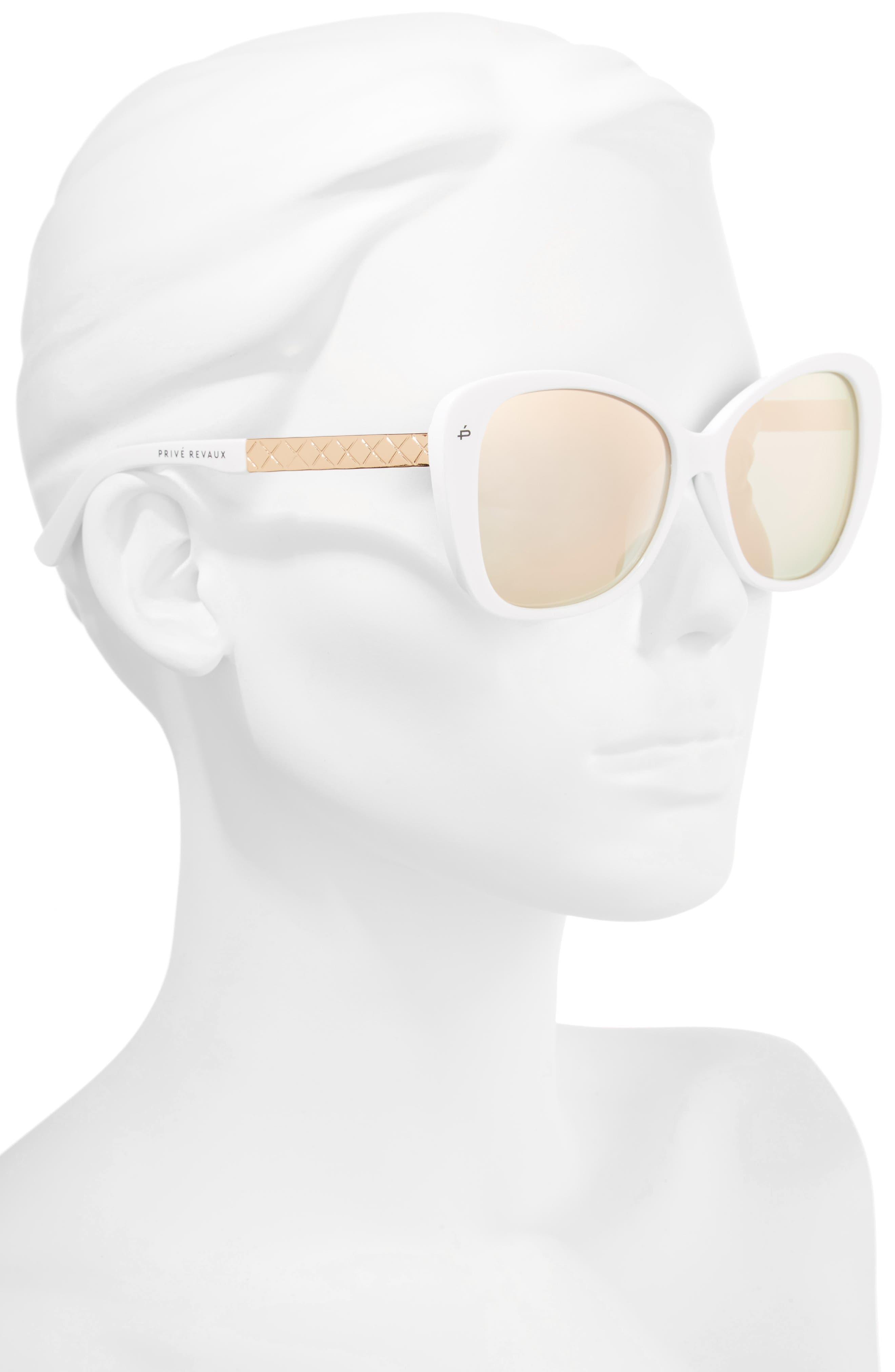 Privé Revaux The Jackie O 56mm Cat Eye Sunglasses,                             Alternate thumbnail 2, color,                             White Polarized