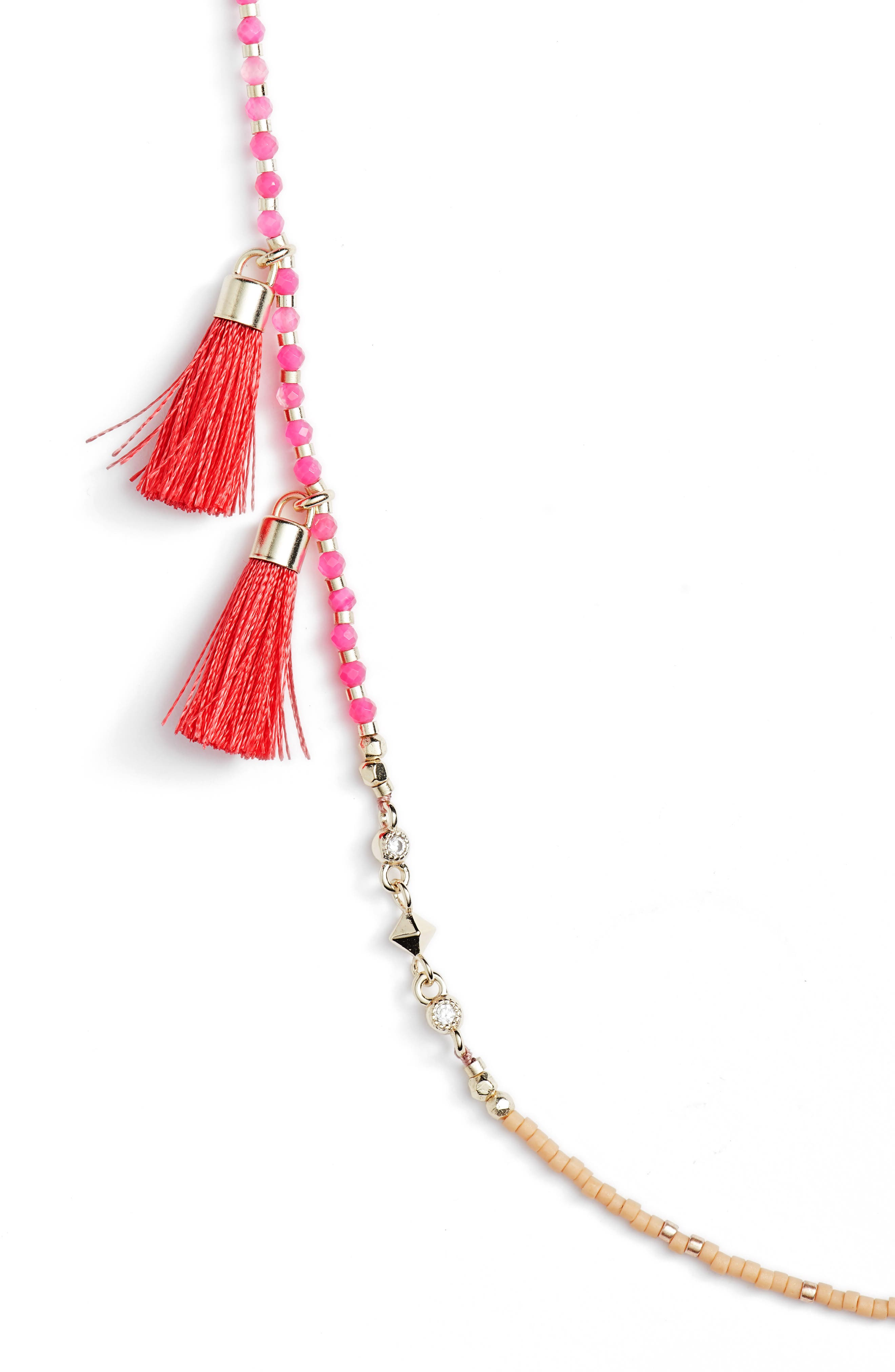 Augusta Tassel Necklace,                             Alternate thumbnail 2, color,                             Pink Mix/ Gold