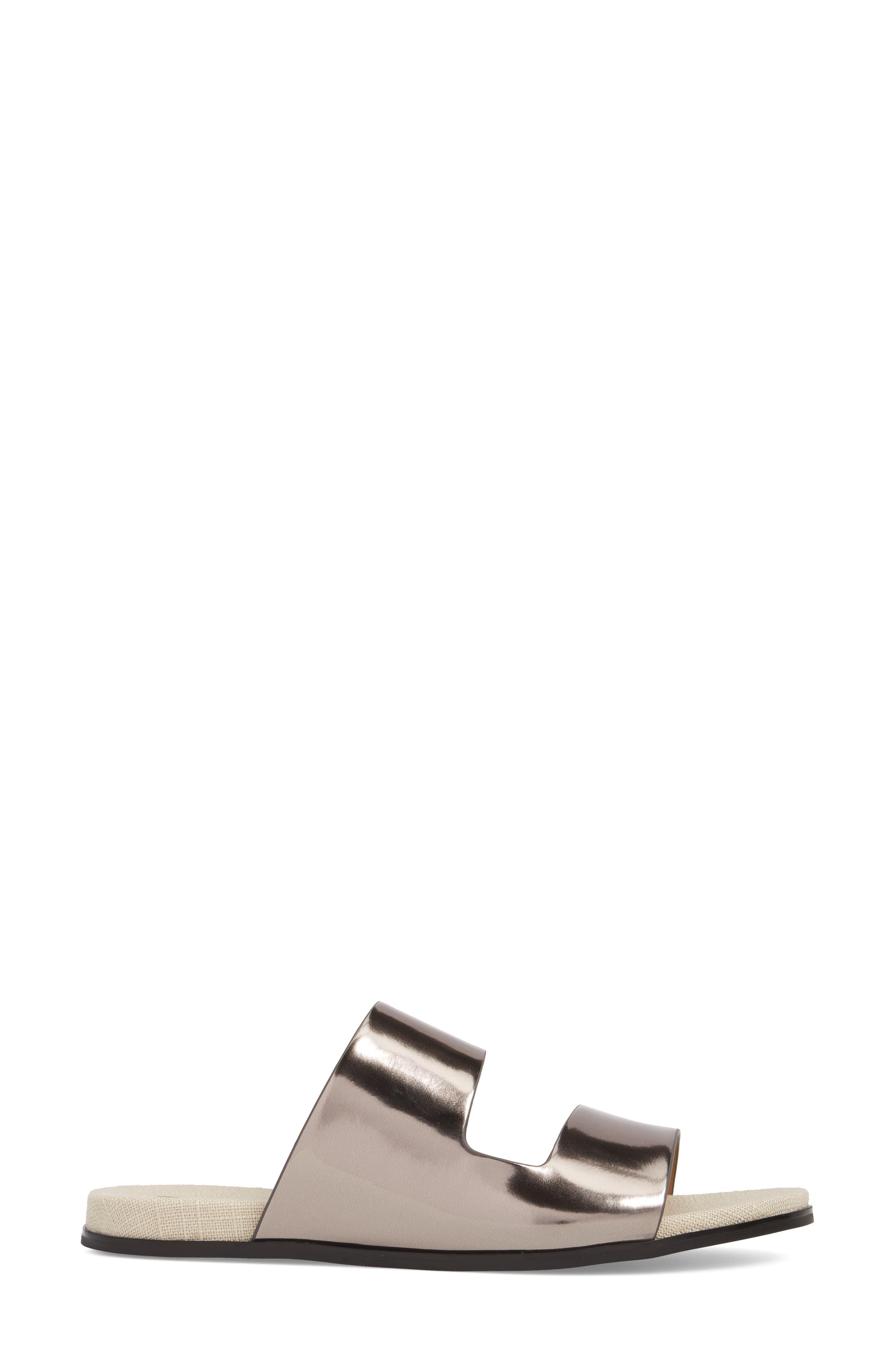Posey Slide Sandal,                             Alternate thumbnail 3, color,                             Pewter Leather