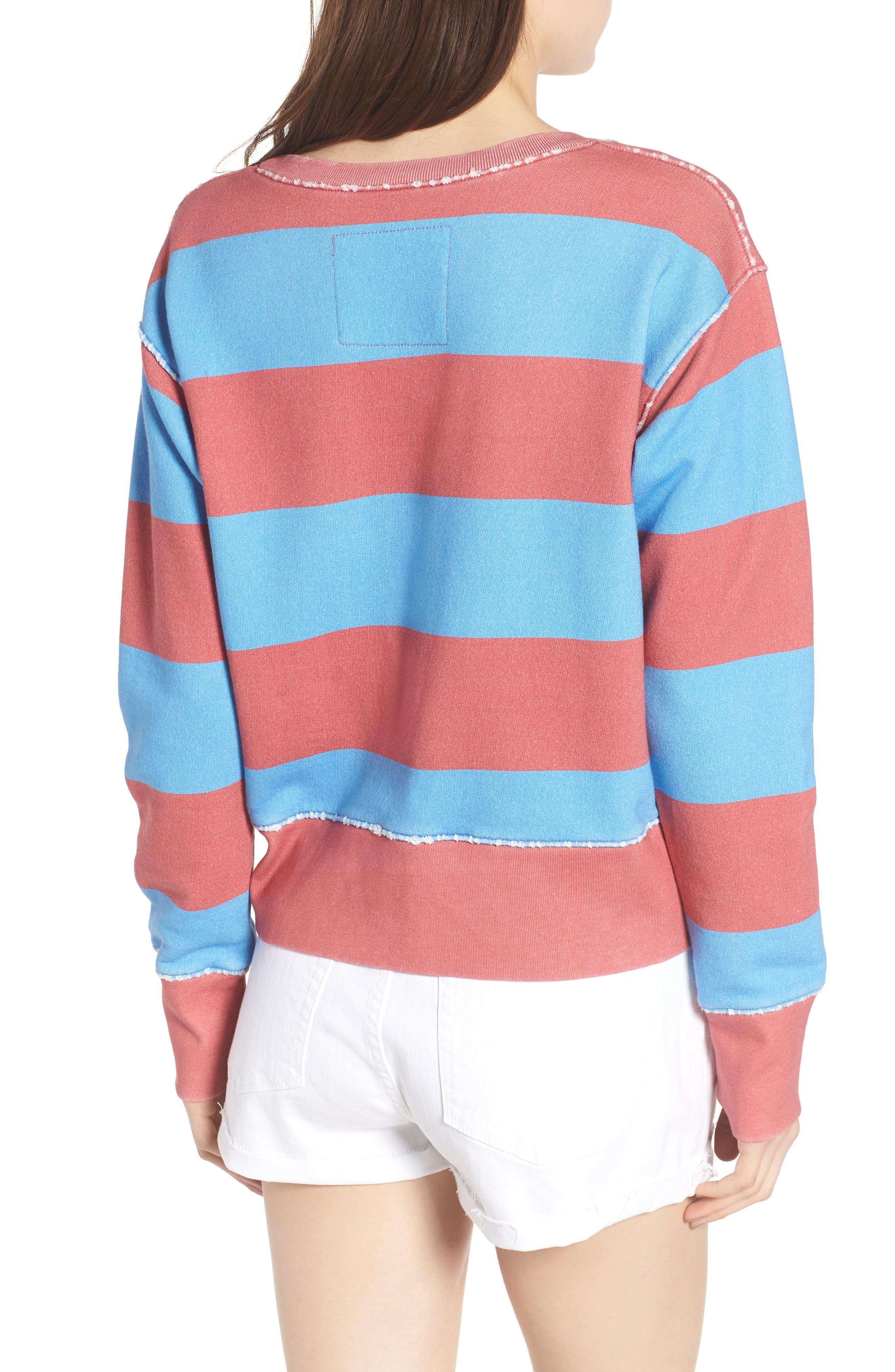 Stripe Crewneck Sweatshirt,                             Alternate thumbnail 2, color,                             Red Rugby 5 Vintage Year Wash