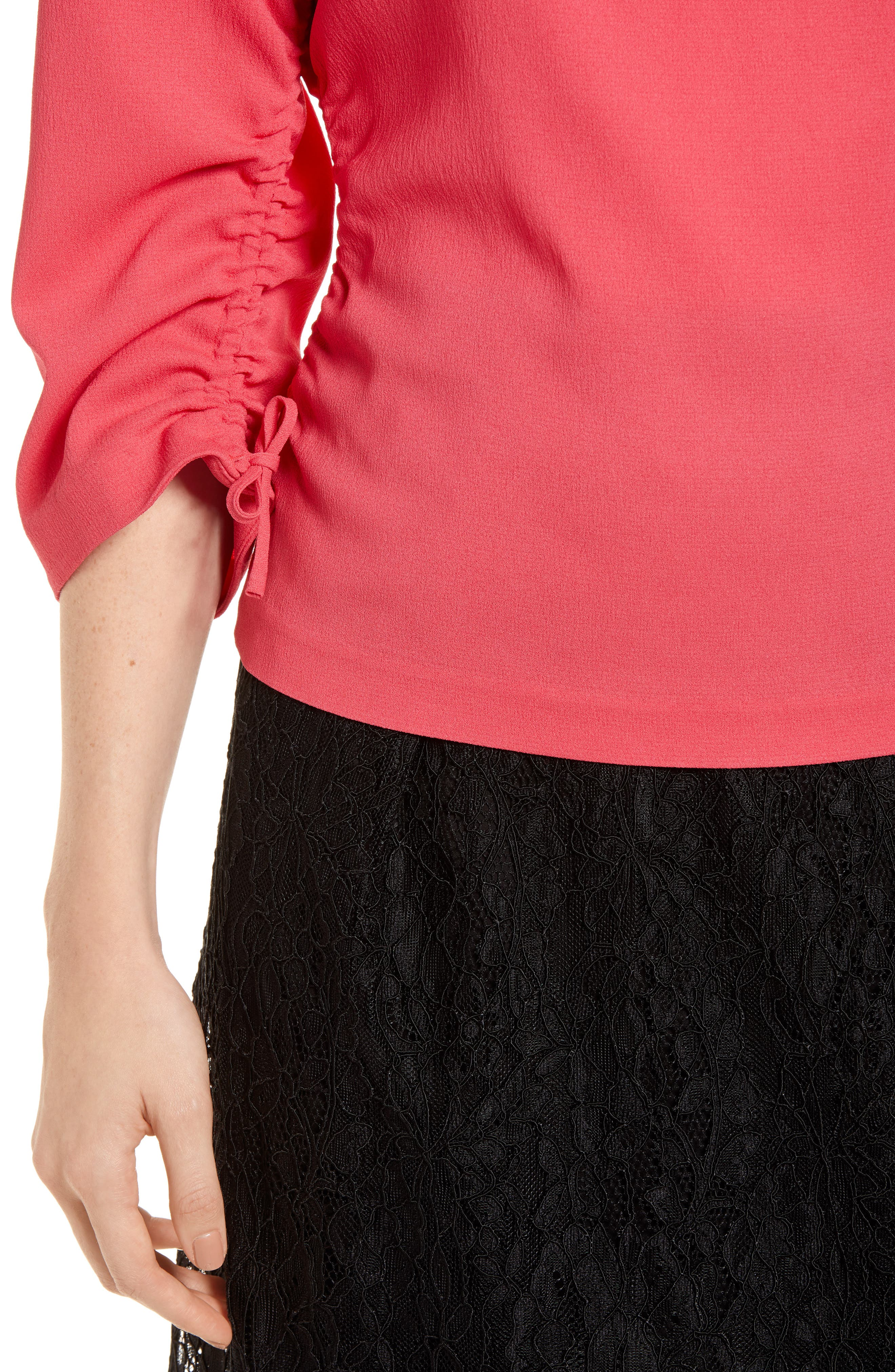 Ruched Crepe Top,                             Alternate thumbnail 4, color,                             Pink Honey