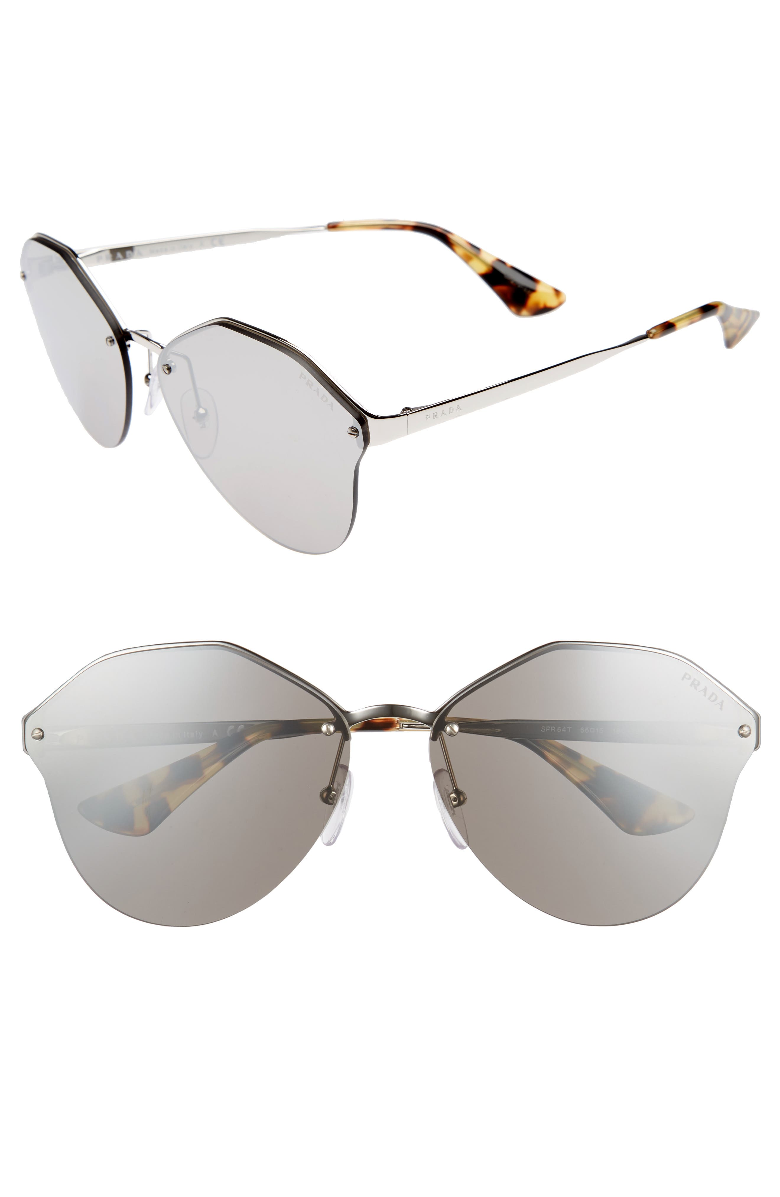 66mm Oversize Rimless Sunglasses,                             Main thumbnail 1, color,                             Brown Mirror